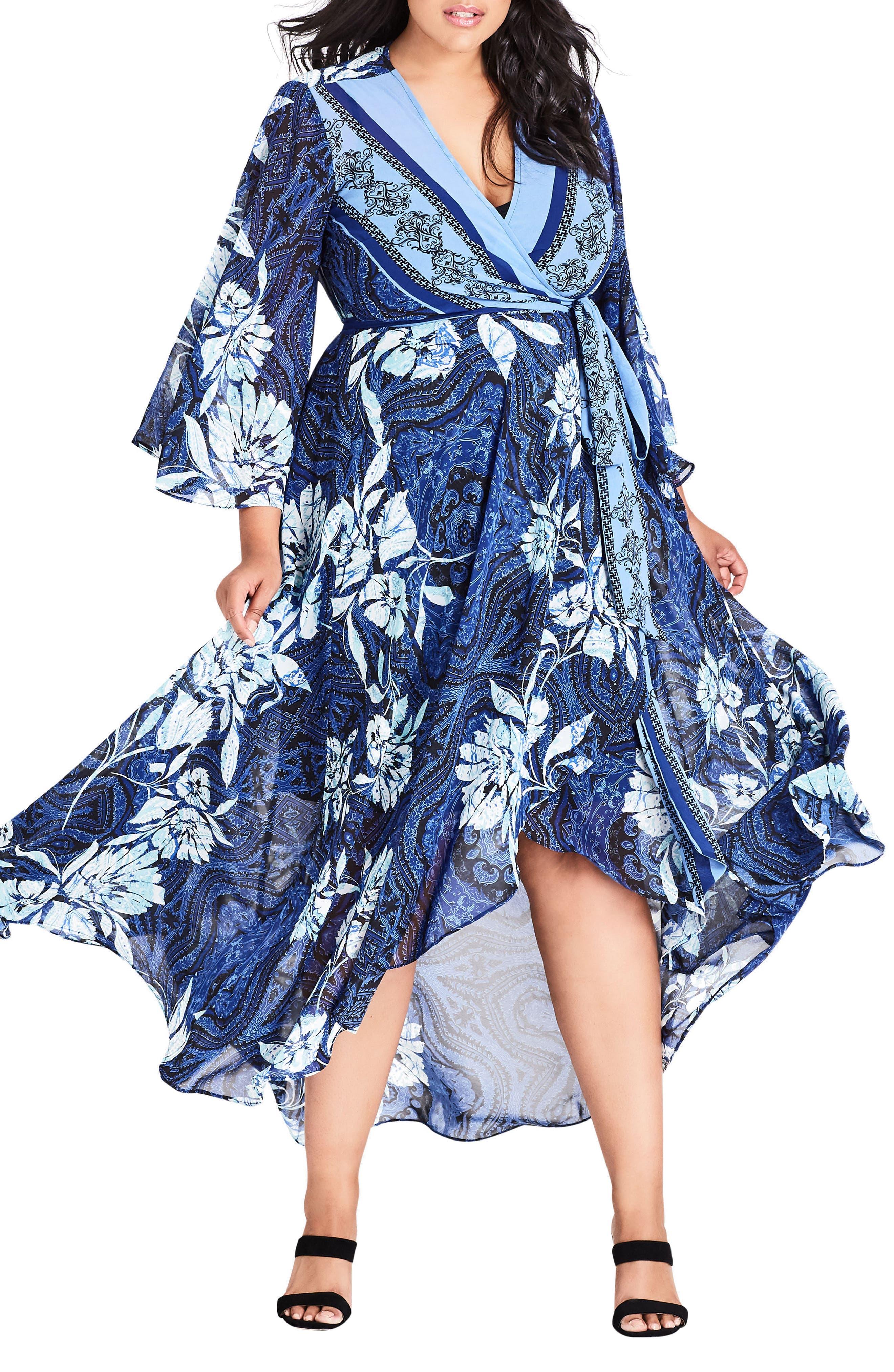 Blue Illusion High/Low Wrap Dress,                         Main,                         color, BLUE ILLUSION