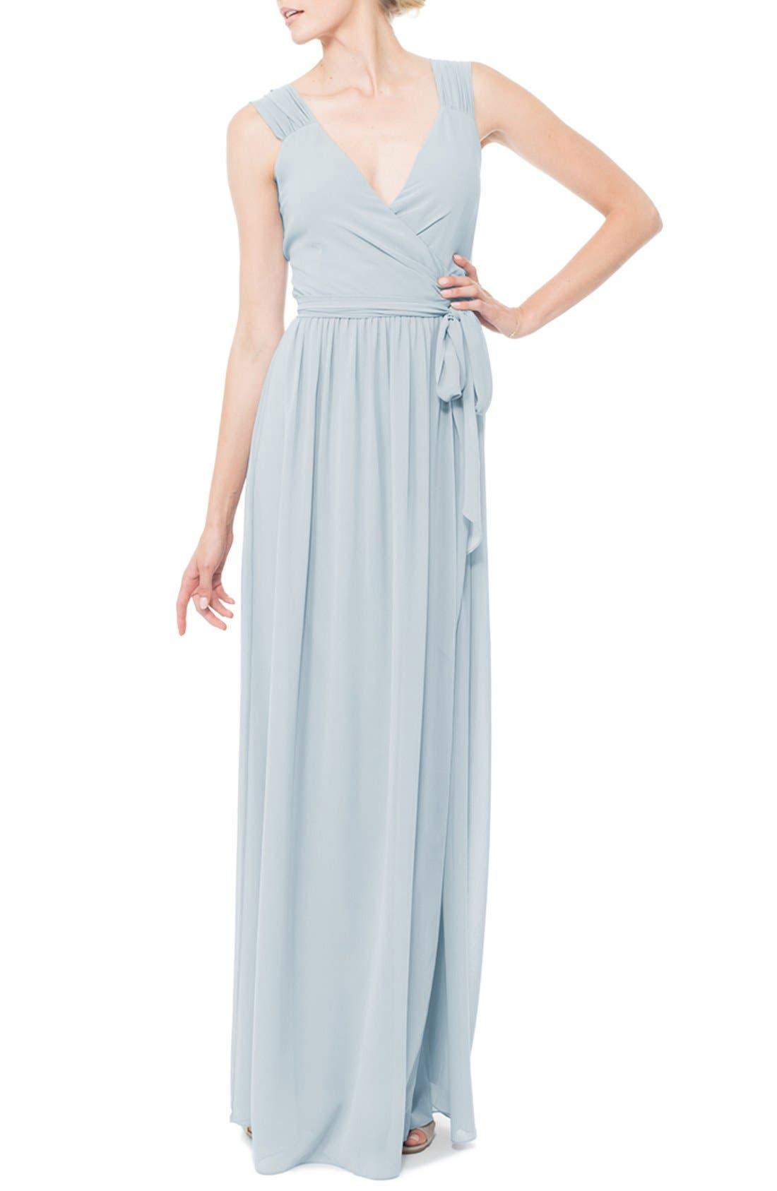 Newbury Gathered Sleeve Chiffon Wrap Gown,                             Main thumbnail 6, color,