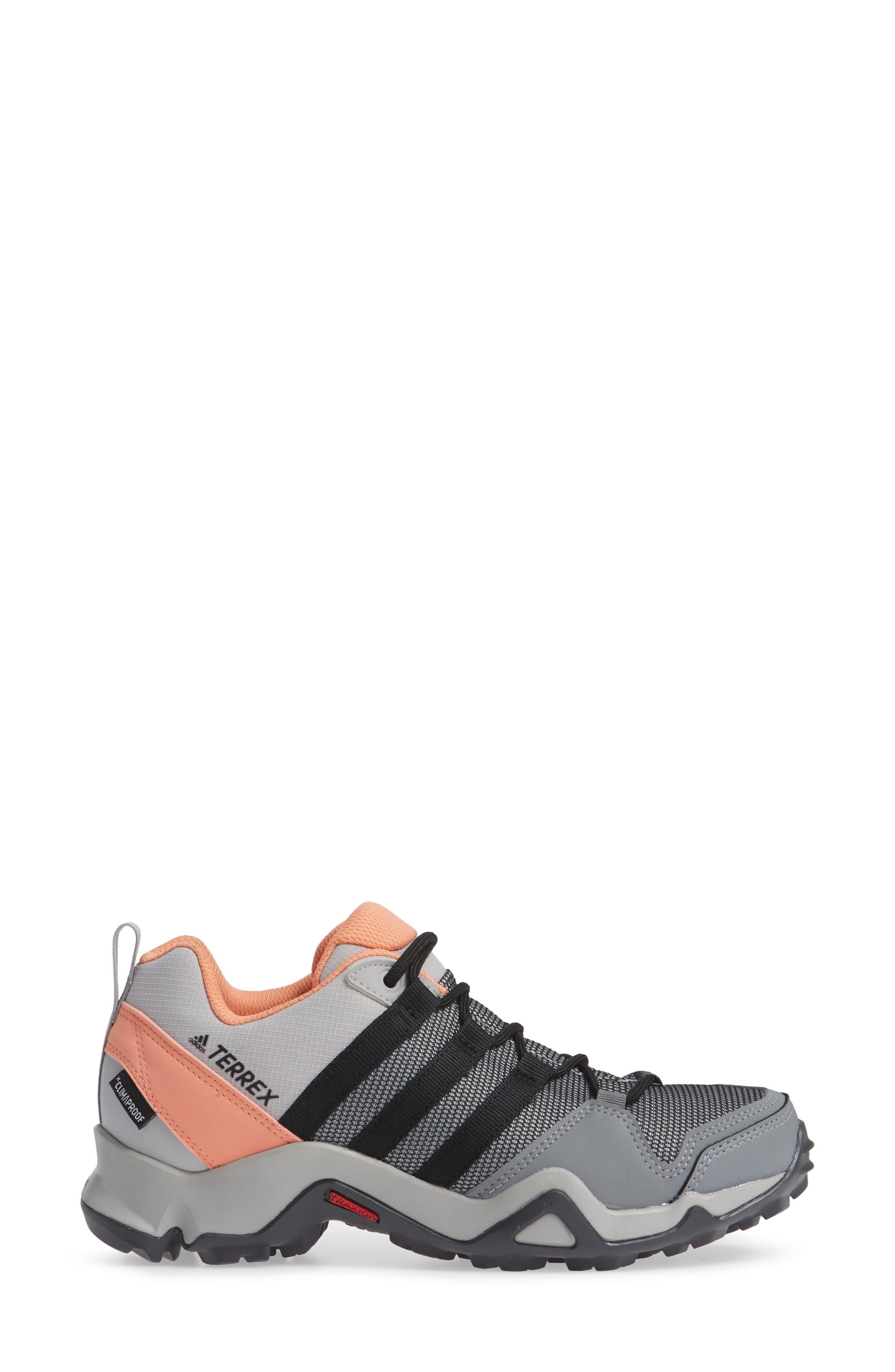 Terrex AX2 CLIMAPROOF<sup>®</sup> Hiking Shoe,                             Alternate thumbnail 3, color,                             GREY/ BLACK/ CHALK CORAL