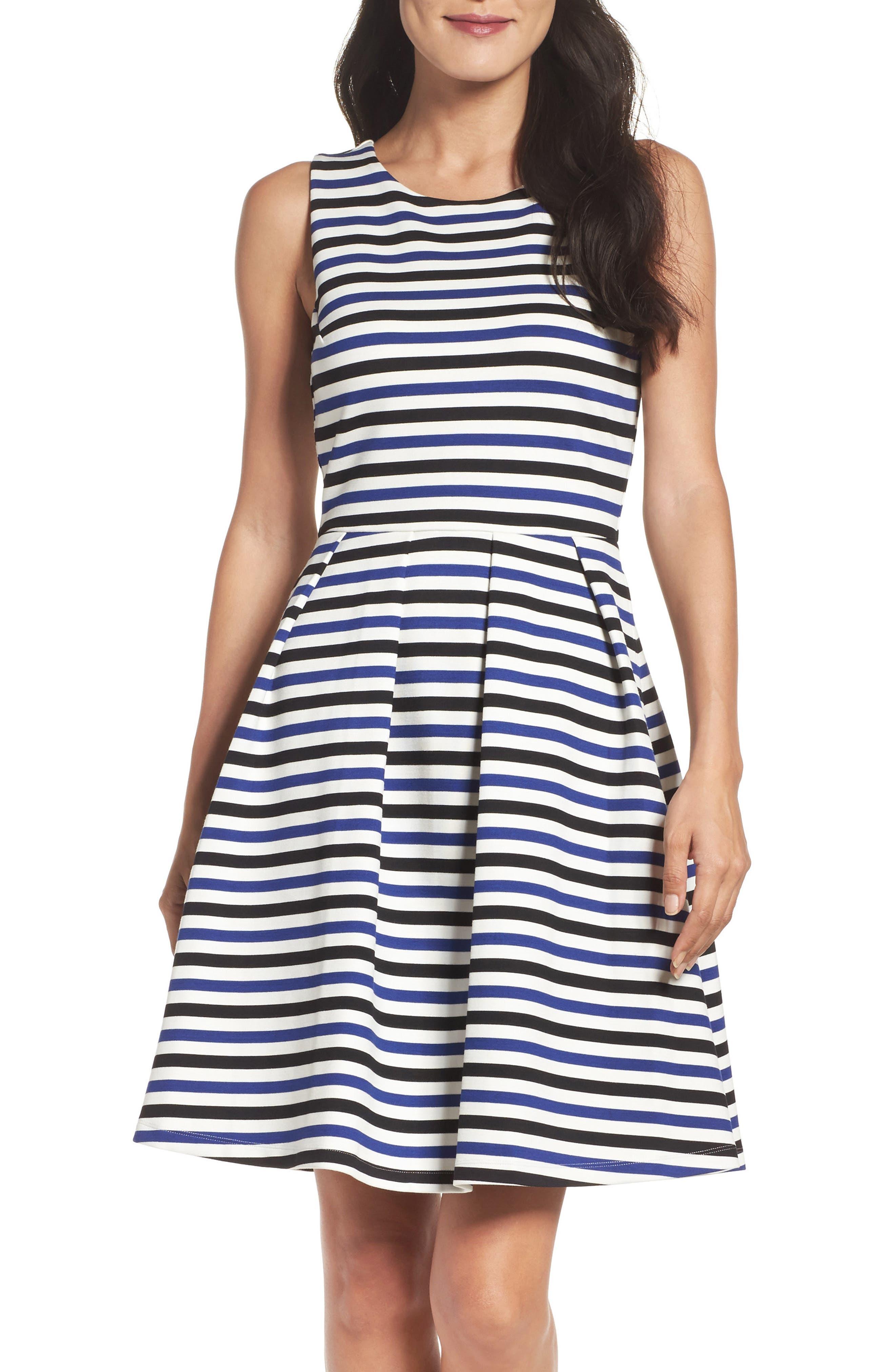 Ming Stripe Fit & Flare Dress,                             Alternate thumbnail 5, color,                             100