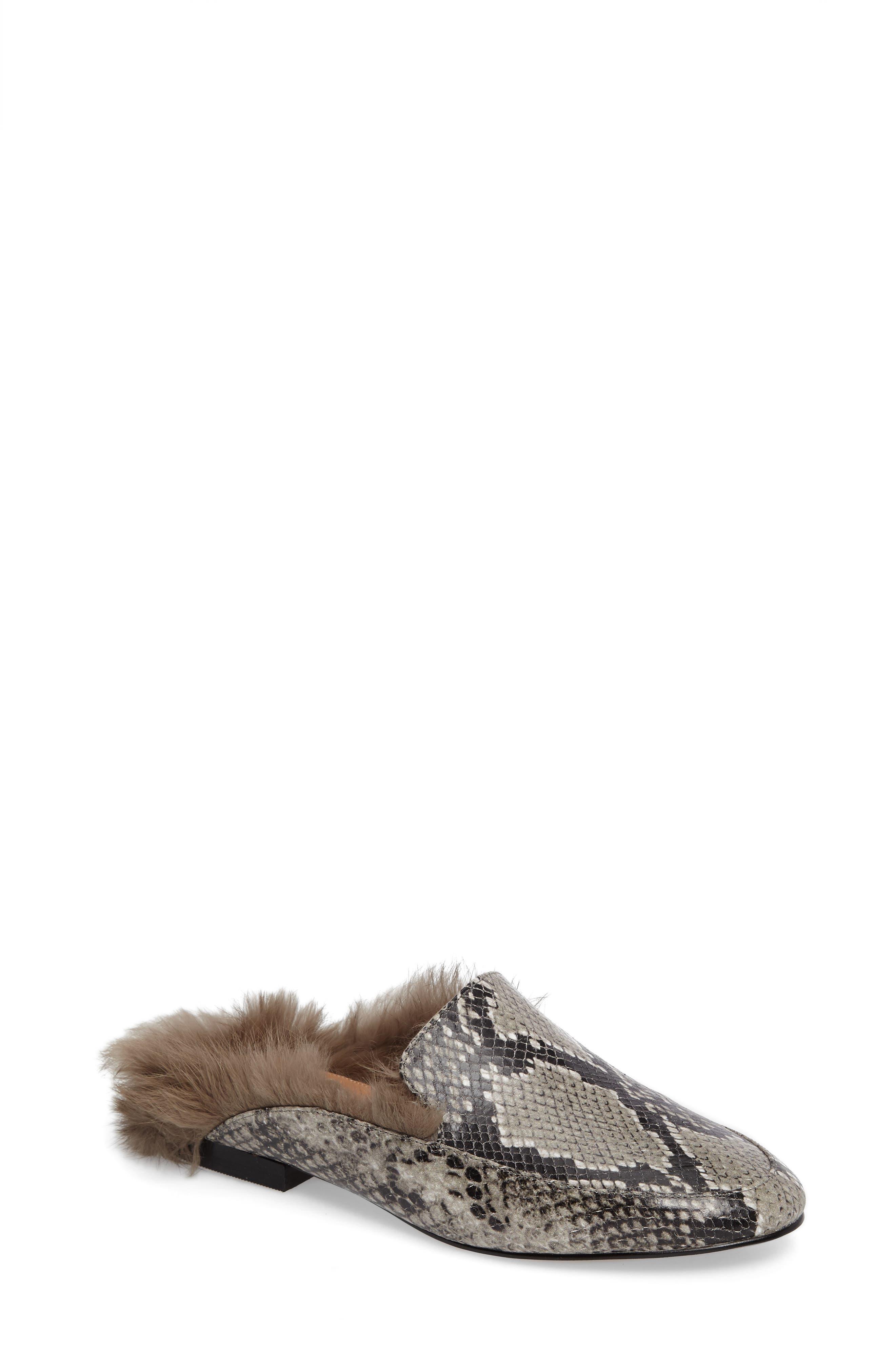 Asha Genuine Rabbit Fur Mule,                             Main thumbnail 2, color,