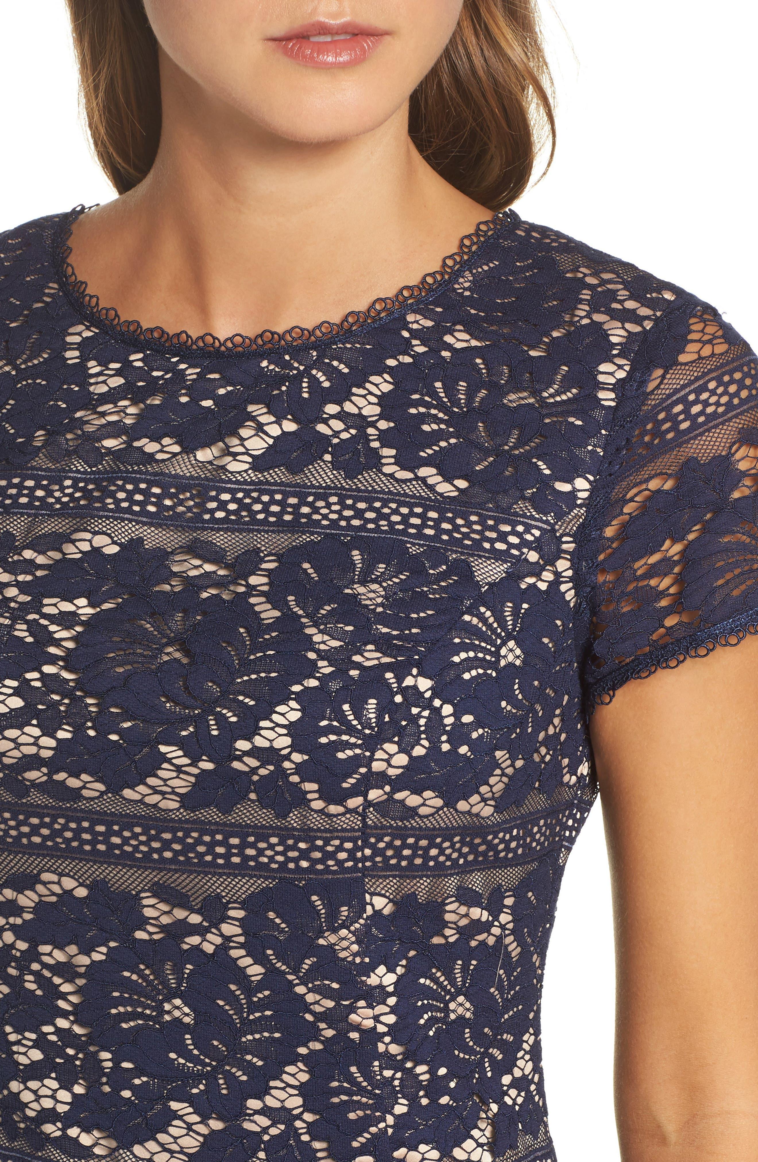 Lace Ruffle Hem Sheath Dress,                             Alternate thumbnail 4, color,                             410