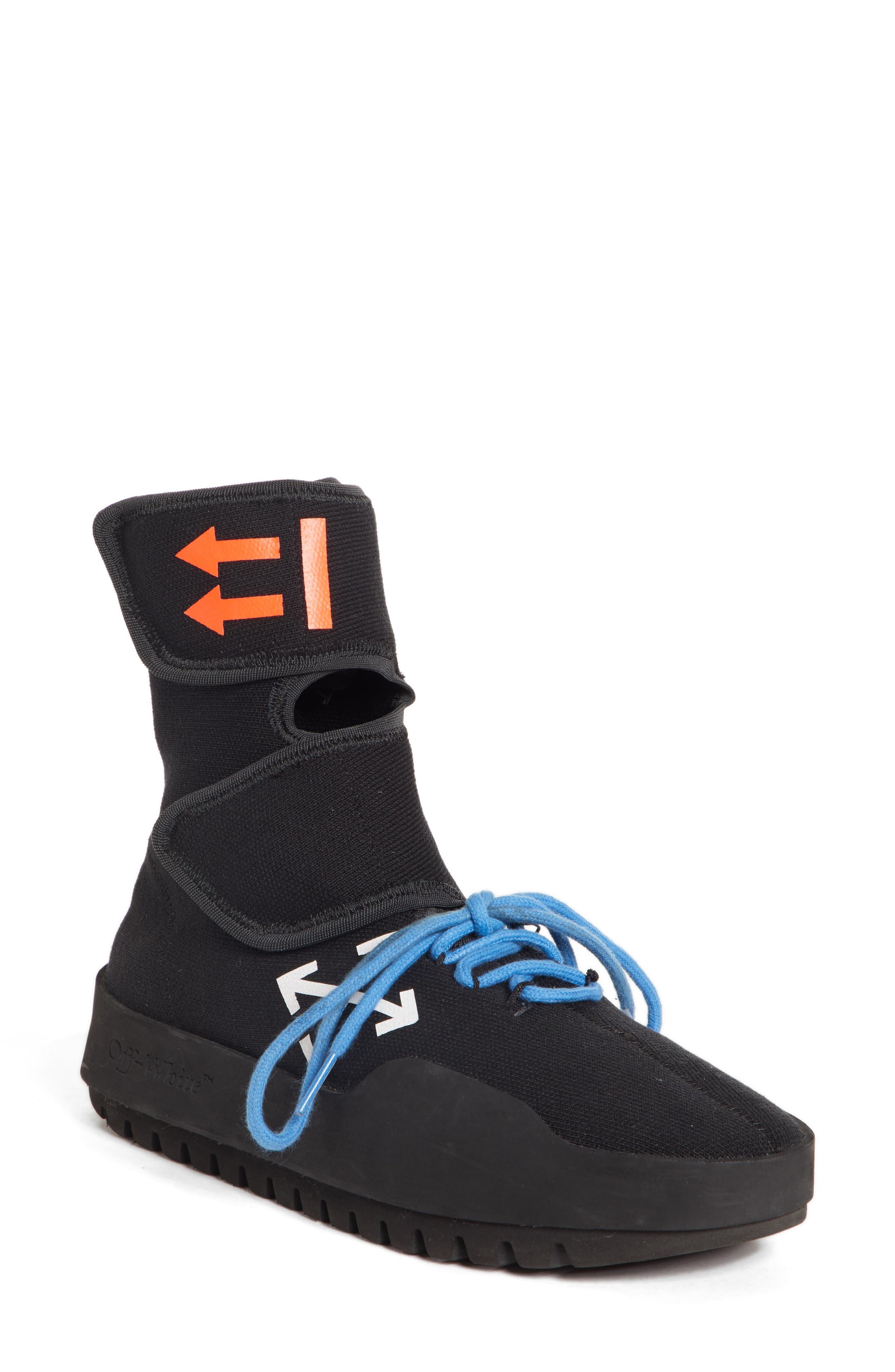 Moto Wrap Sneaker,                         Main,                         color, BLACK WHITE