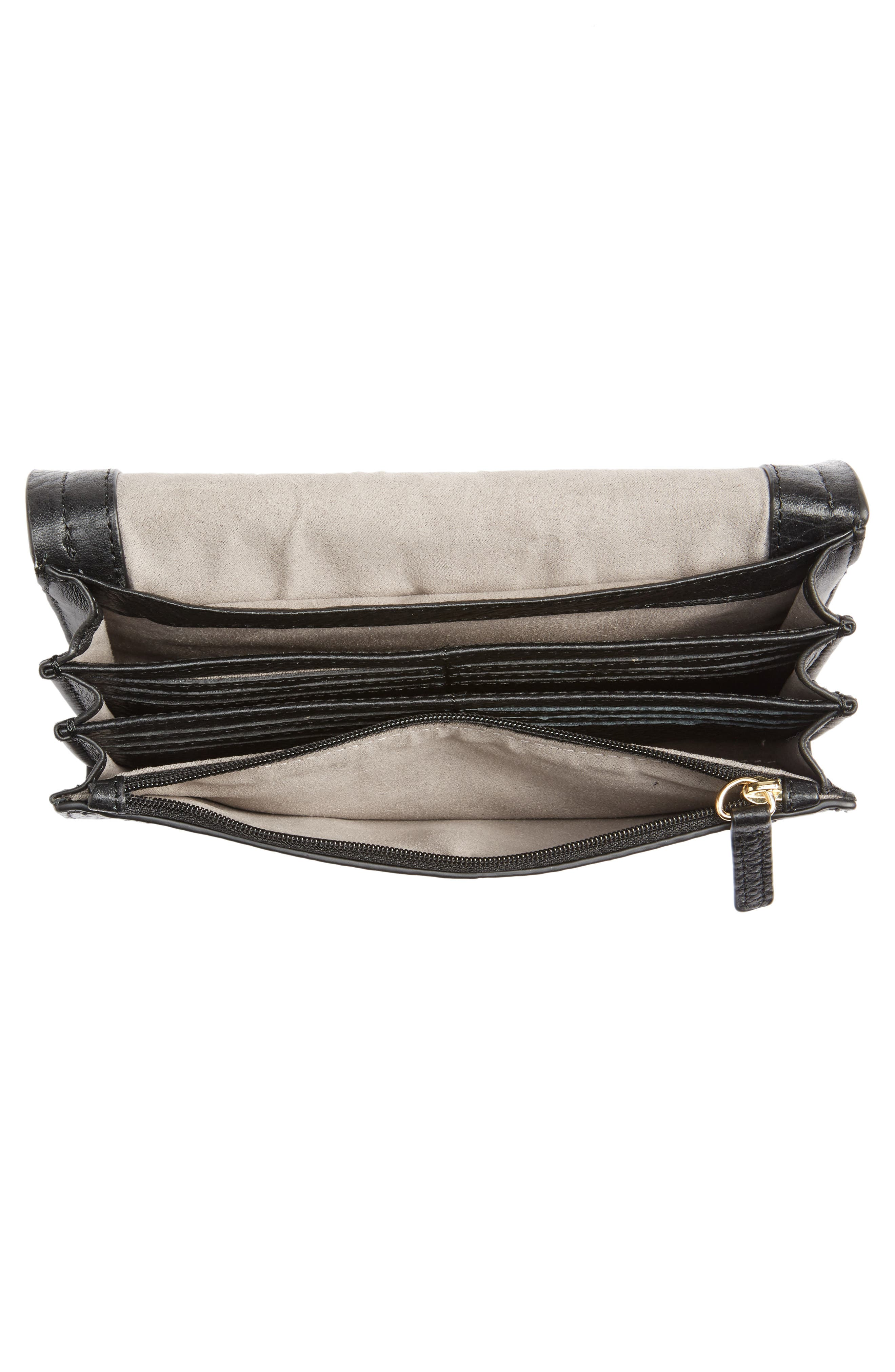 Blena Leather & Suede Clutch,                             Alternate thumbnail 4, color,                             001