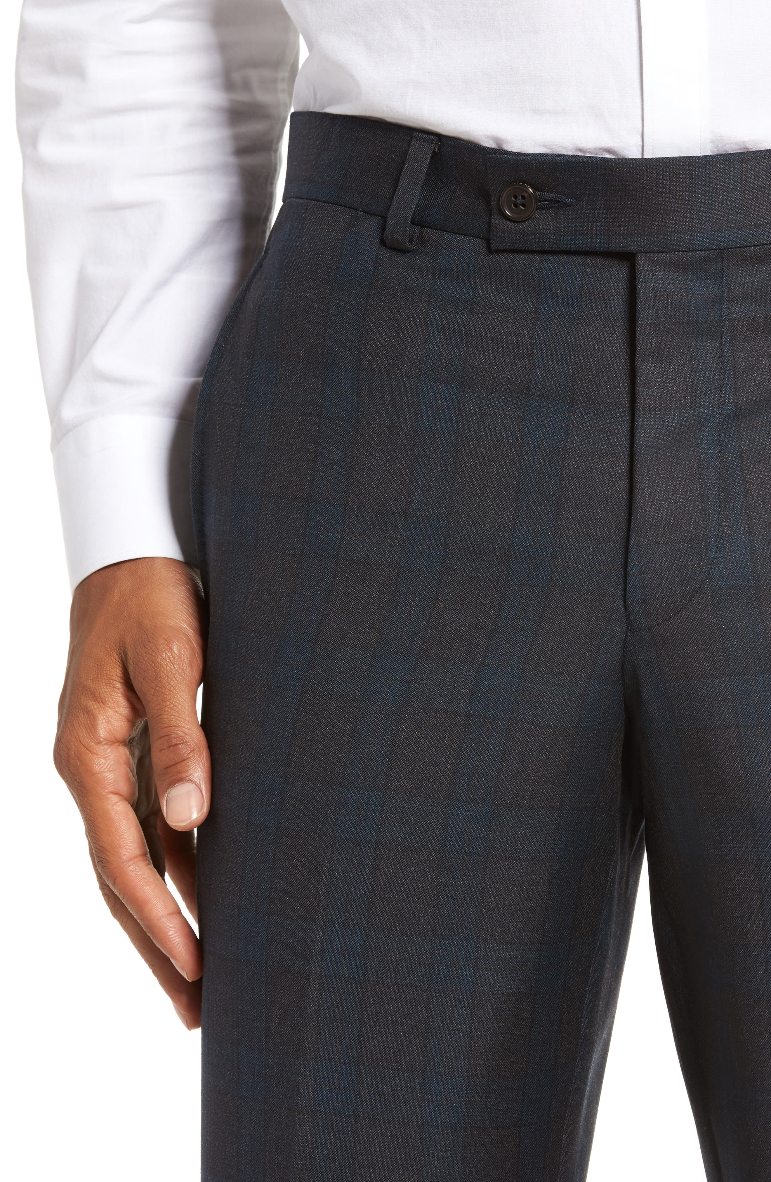 Jefferson Flat Front Plaid Wool Trousers,                             Alternate thumbnail 5, color,                             020