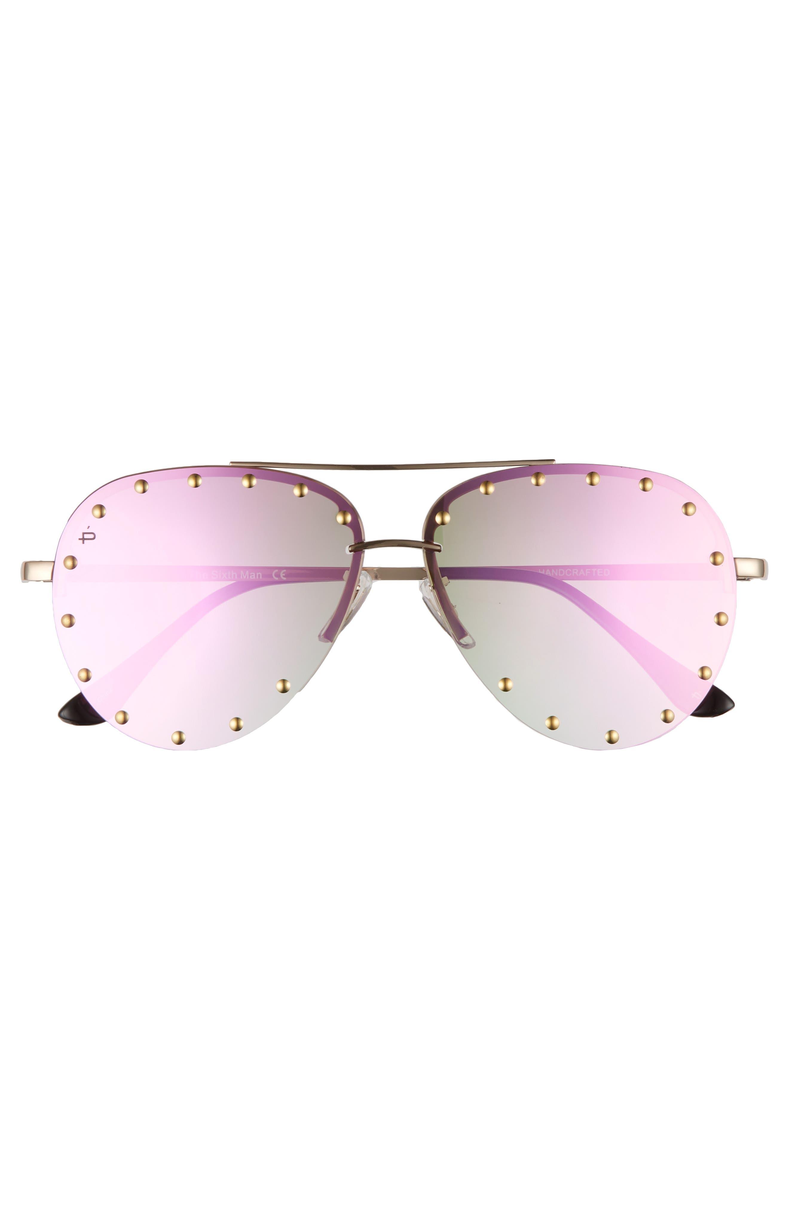 Privé Revaux The Sixth Man 60mm Studded Aviator Sunglasses,                             Alternate thumbnail 9, color,