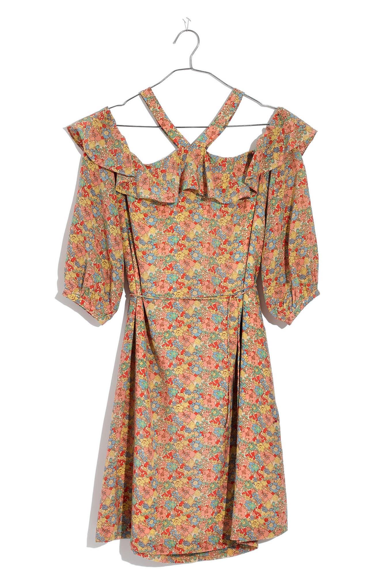 Forsythia Cold Shoulder Silk Dress,                             Alternate thumbnail 6, color,                             650