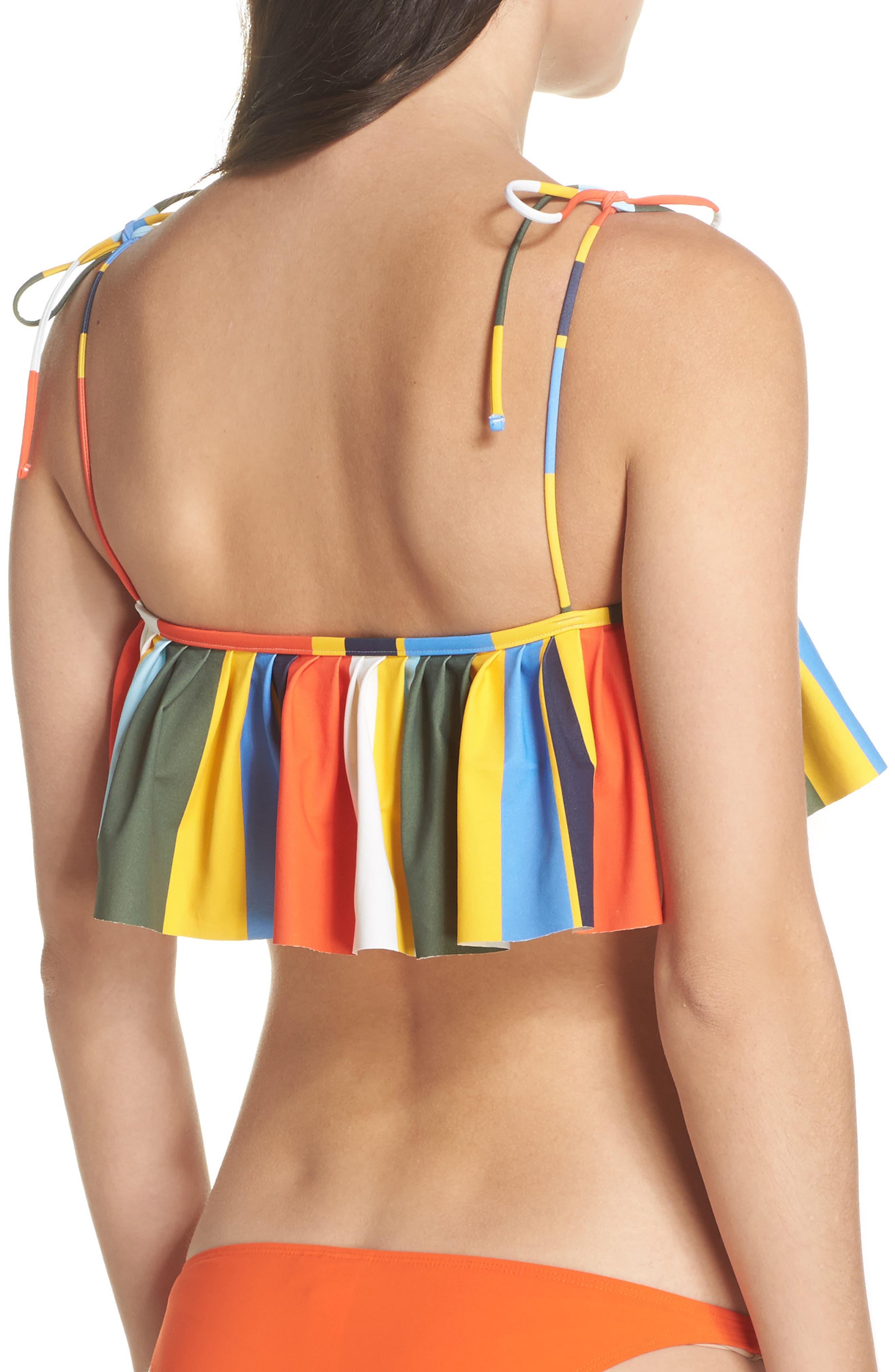 Balloon Stripe Flounce Bikini Top,                             Alternate thumbnail 2, color,                             886