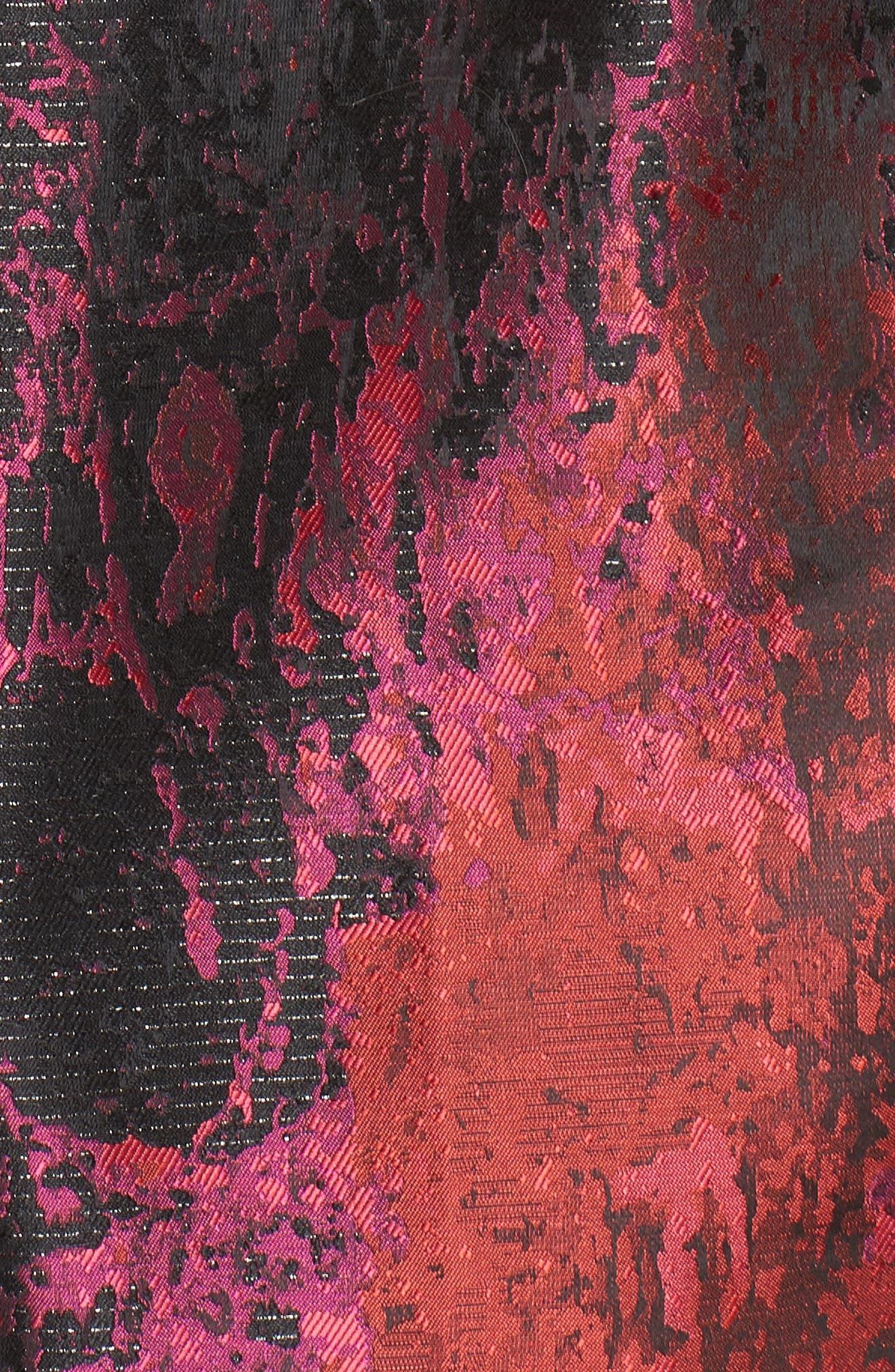 Jacquard Fit & Flare Dress,                             Alternate thumbnail 6, color,                             PINK MULTI