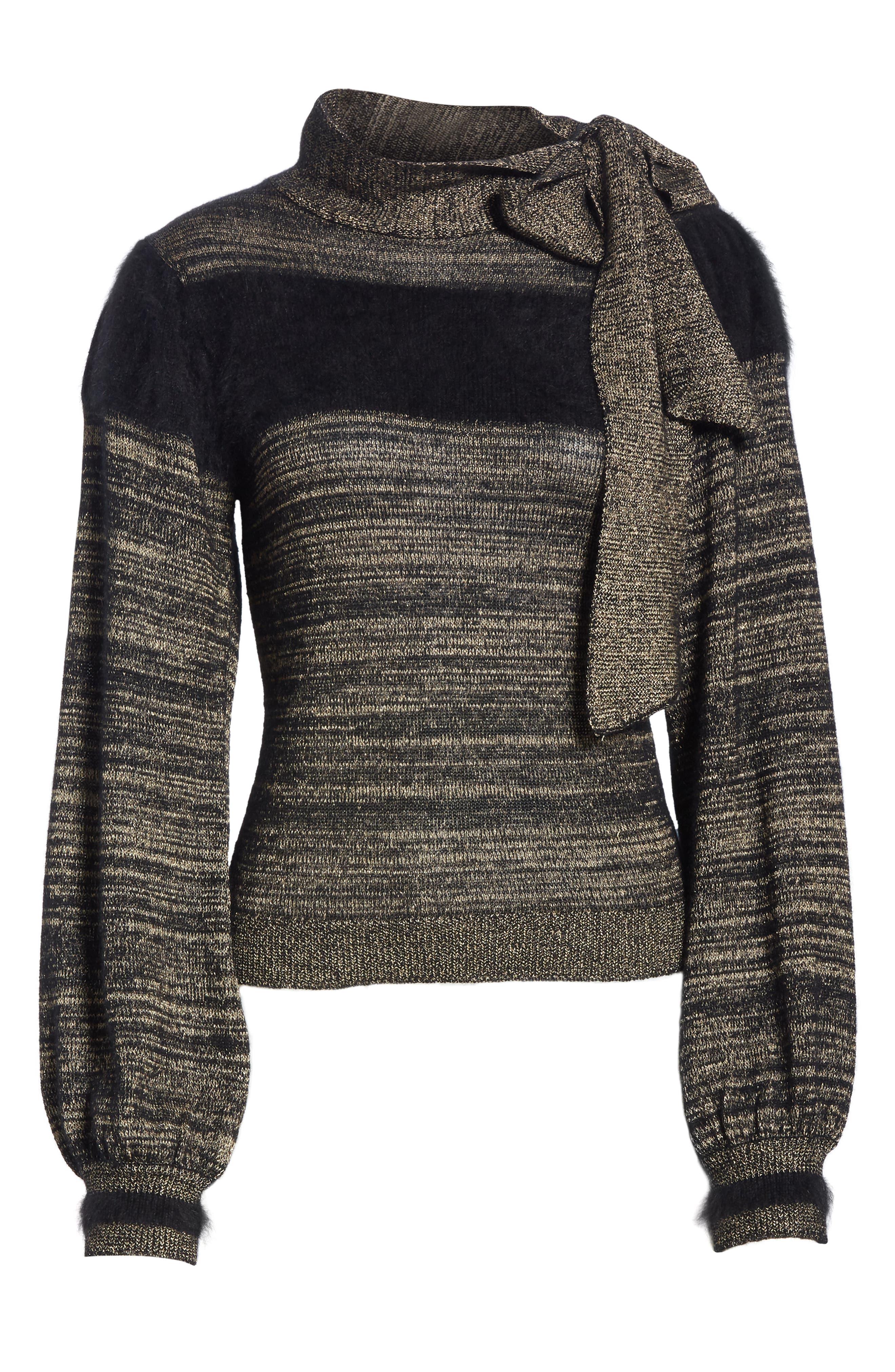 Fabia Tie Neck Cashmere Blend Sweater,                             Alternate thumbnail 6, color,                             NOIR