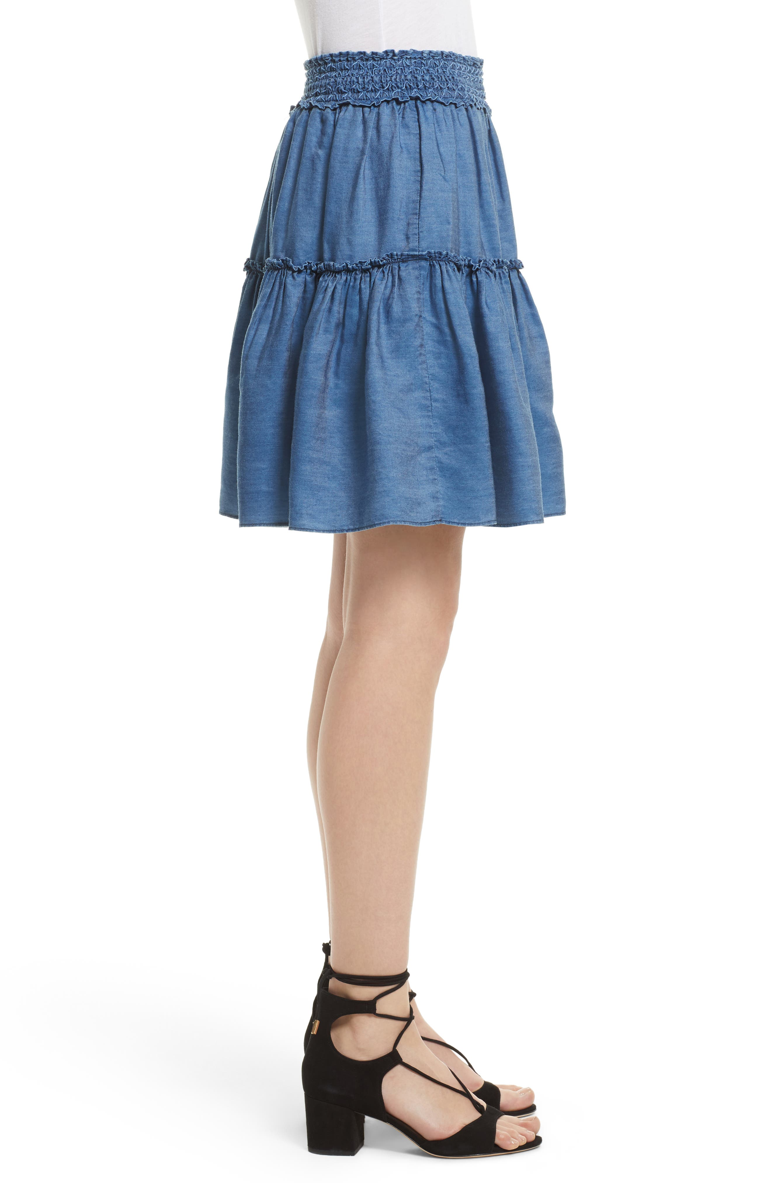 smocked waist chambray skirt,                             Alternate thumbnail 3, color,                             434