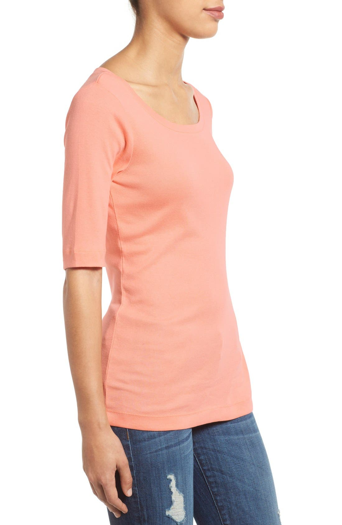 Ballet Neck Cotton & Modal Knit Elbow Sleeve Tee,                             Alternate thumbnail 110, color,