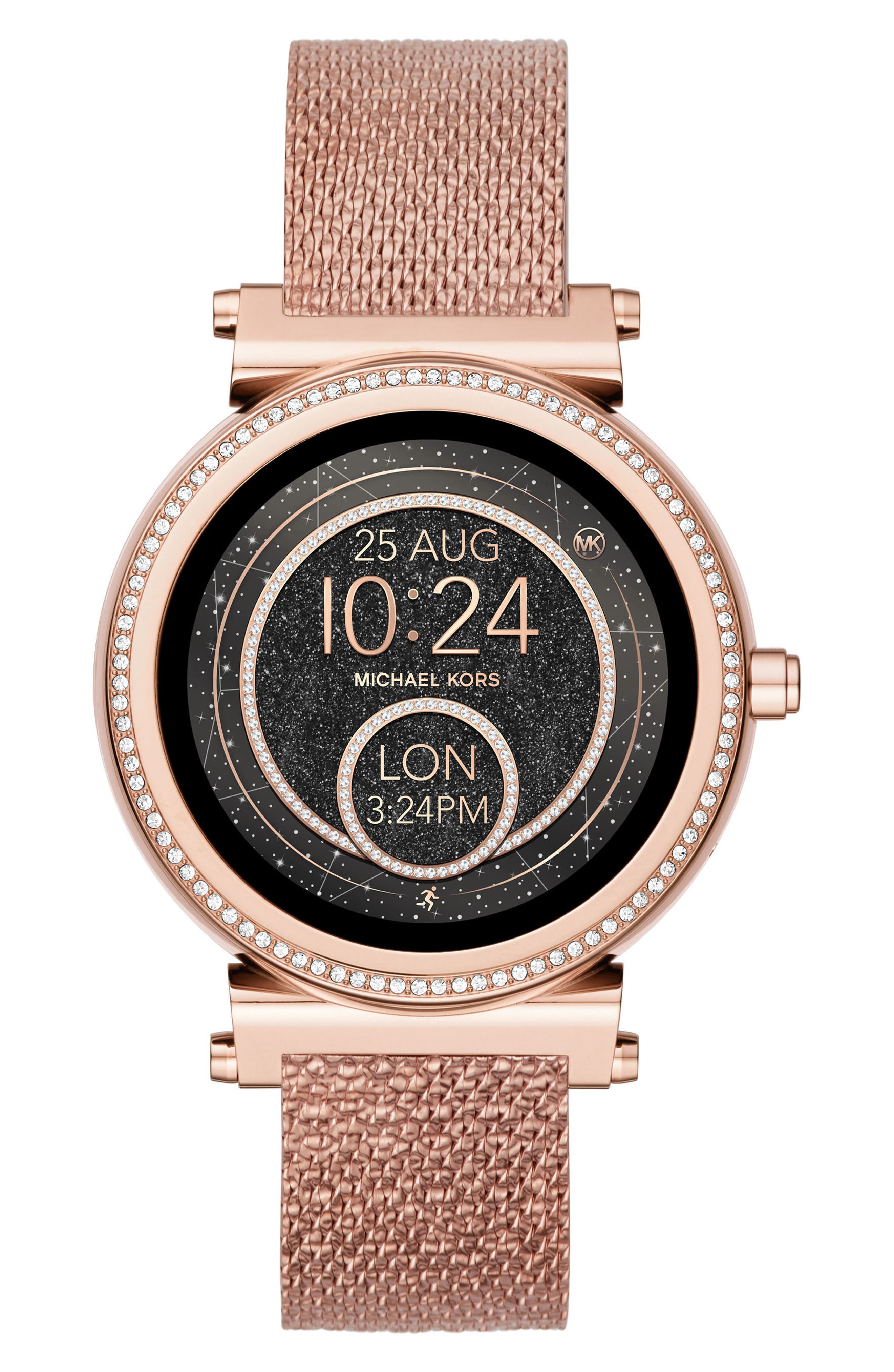 Sofie 18mm Mesh Watch Strap,                             Alternate thumbnail 2, color,                             ROSE GOLD