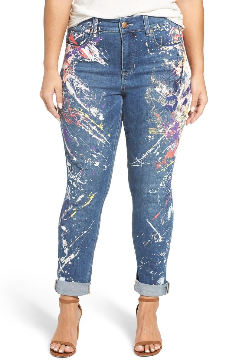 46636e7671403 MELISSA MCCARTHY SEVEN7  Blunder Splatter  Print Roll Cuff Stretch Skinny  Jeans