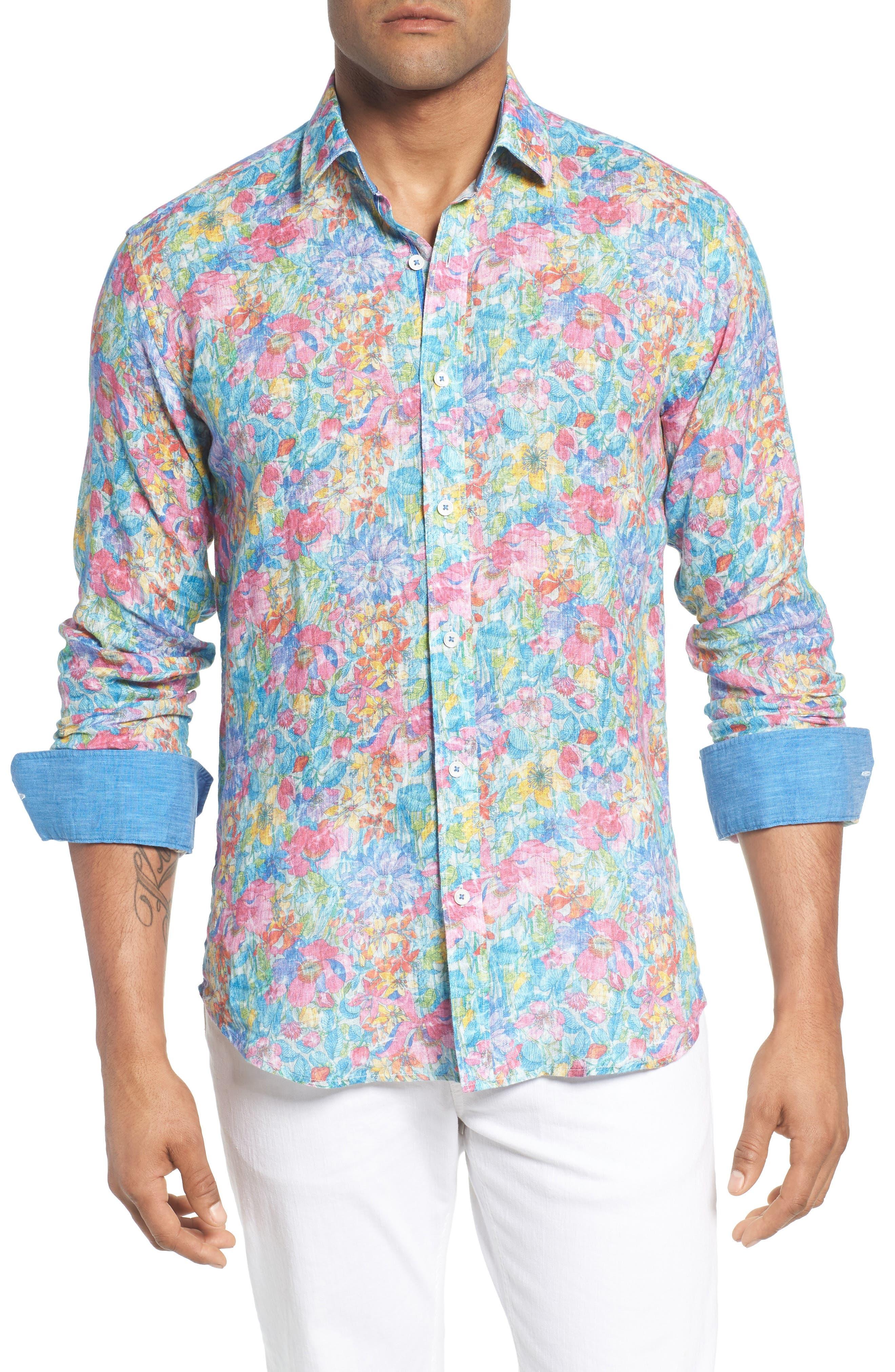 Shaped Fit Floral Linen Sport Shirt,                         Main,                         color, 329