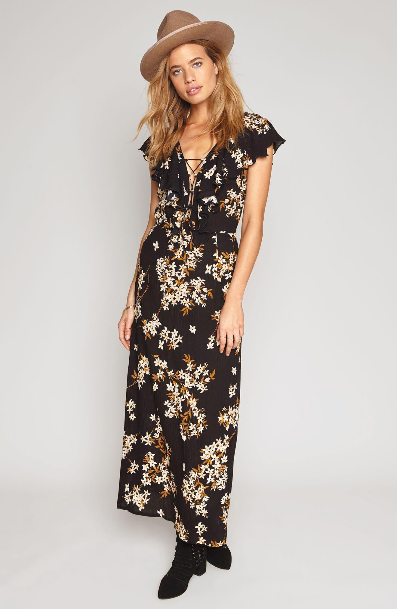 Alana Floral Lace-Up Dress,                             Alternate thumbnail 3, color,                             001