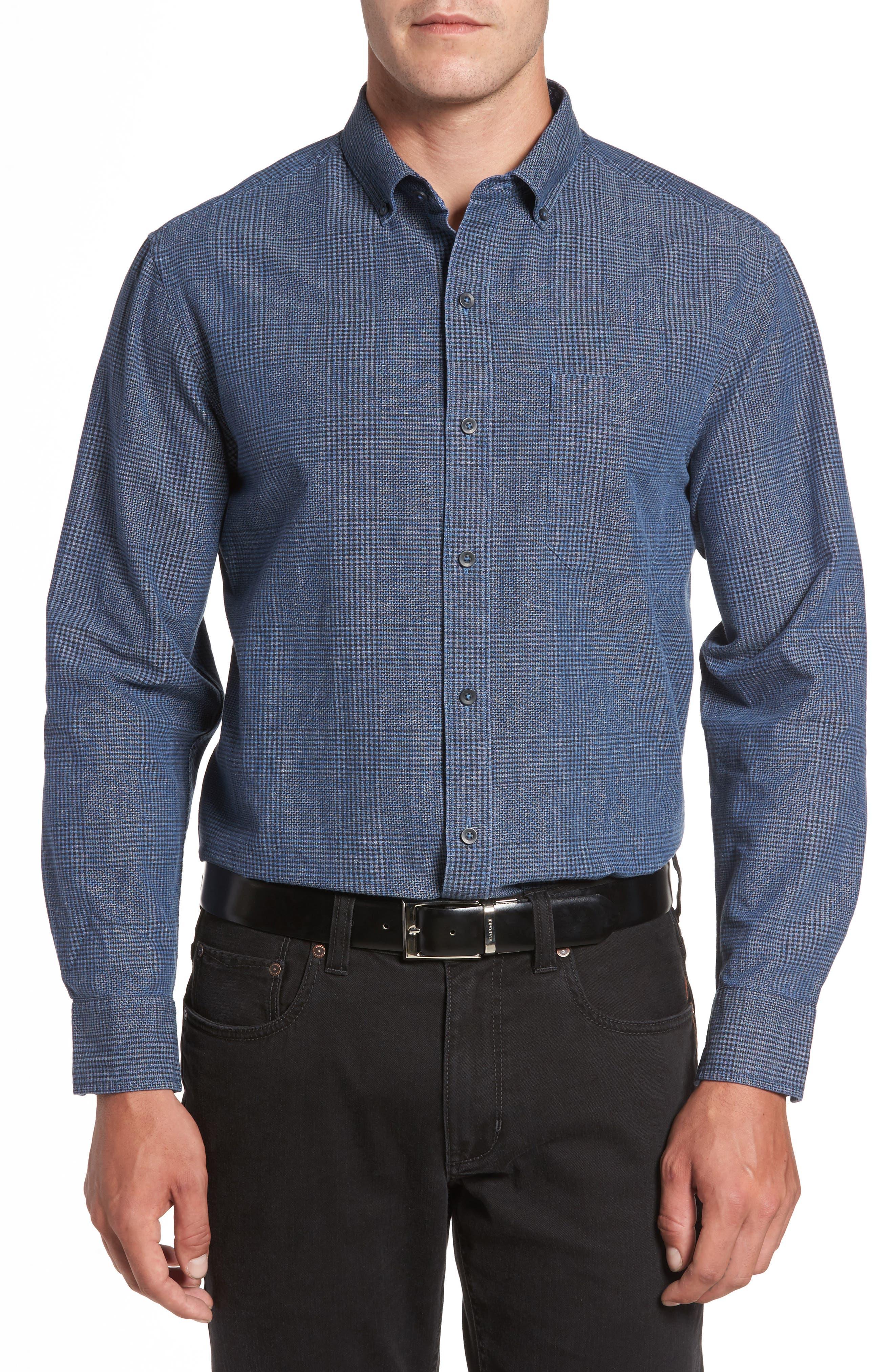 Almeria Standard Fit Plaid Sport Shirt,                             Main thumbnail 1, color,