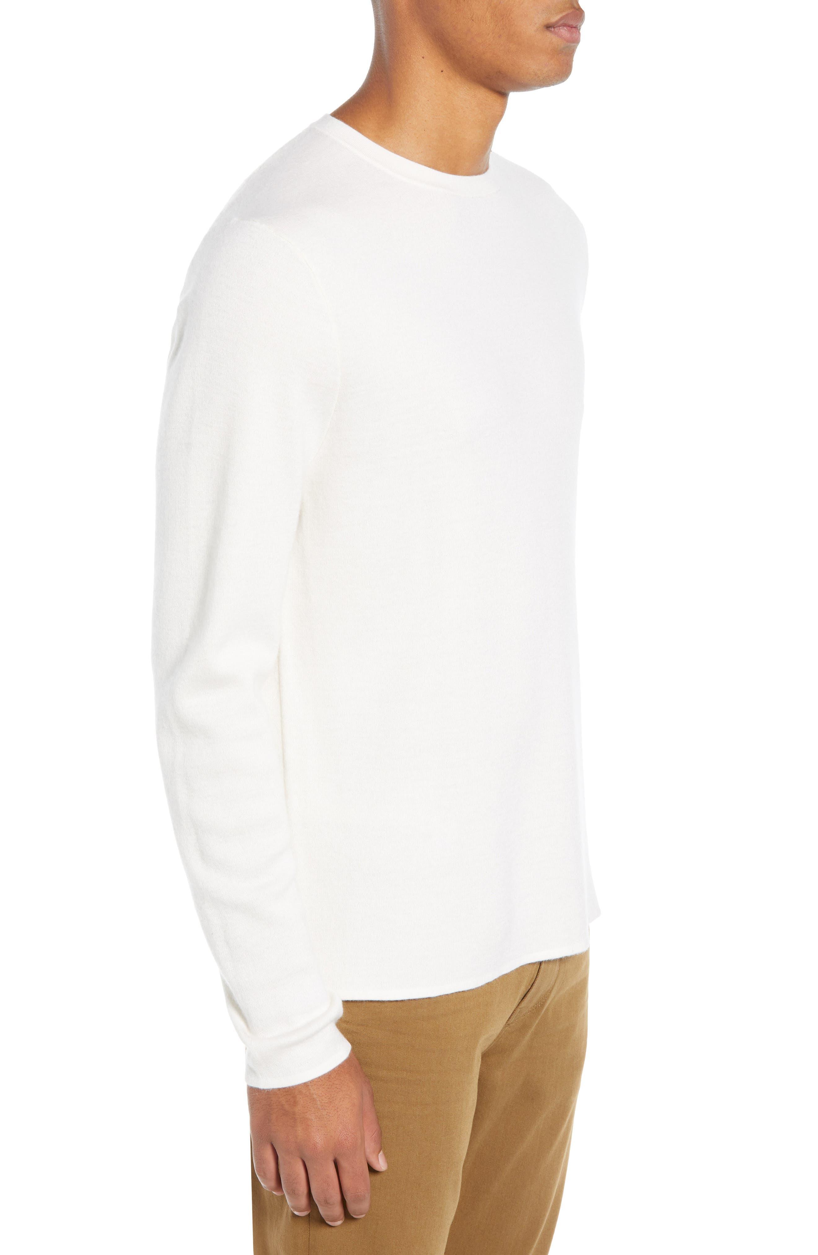 Crewneck Cashmere Sweater,                             Alternate thumbnail 3, color,                             IVORY EGRET