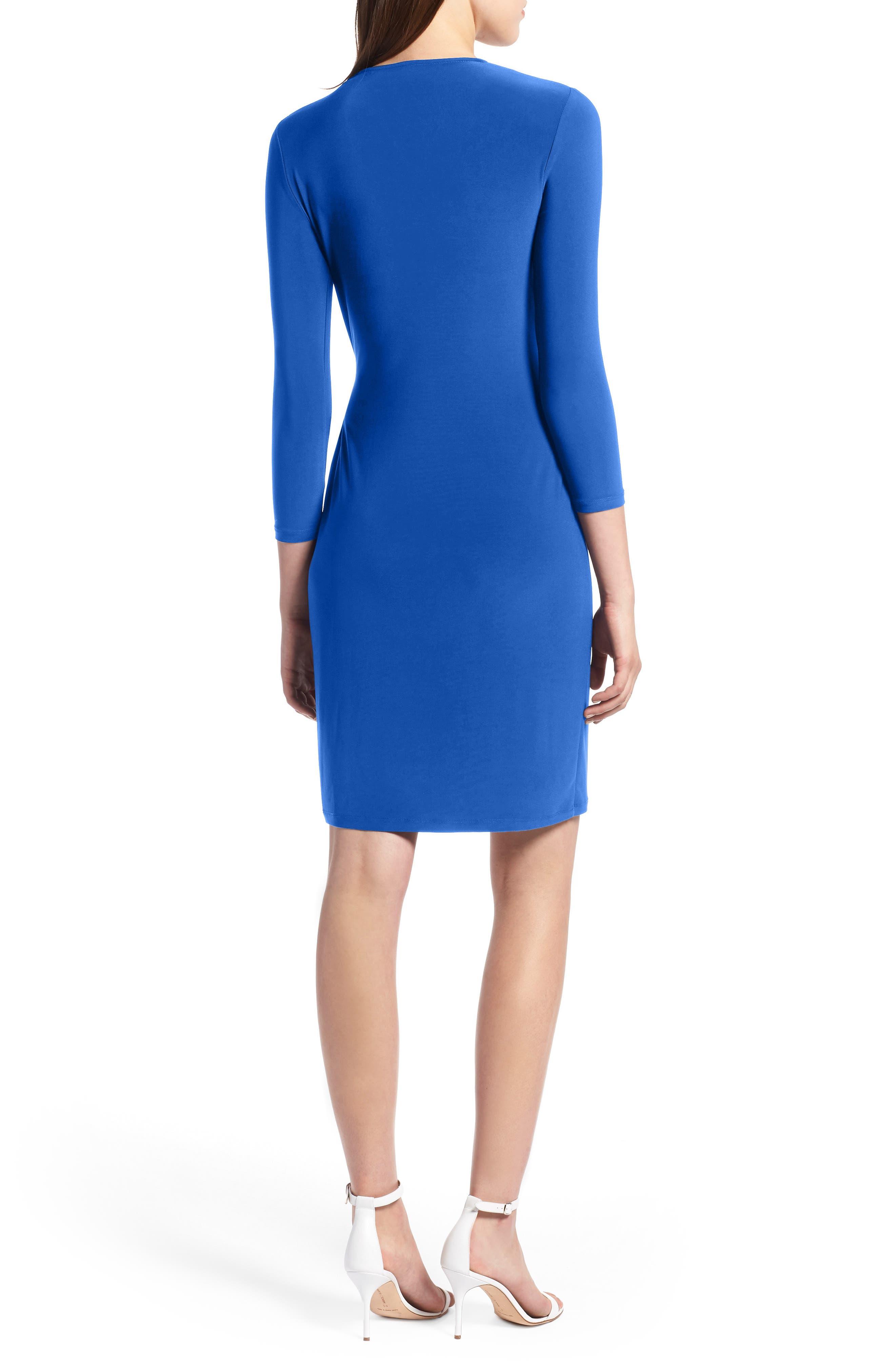 Faux Wrap Dress,                             Alternate thumbnail 2, color,                             CEZANNE BLUE