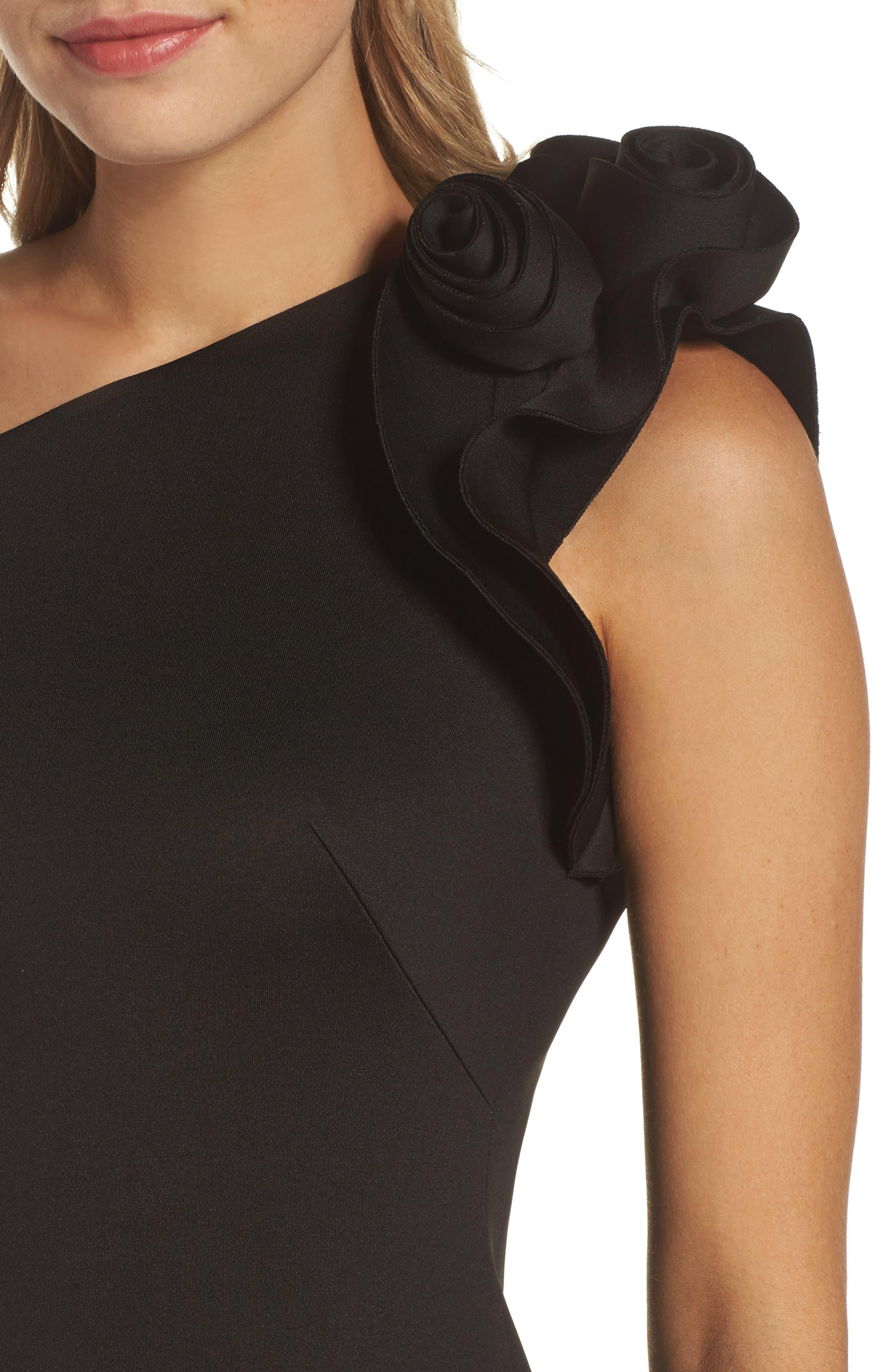 One-Shoulder Sheath Dress,                             Alternate thumbnail 4, color,                             BLACK