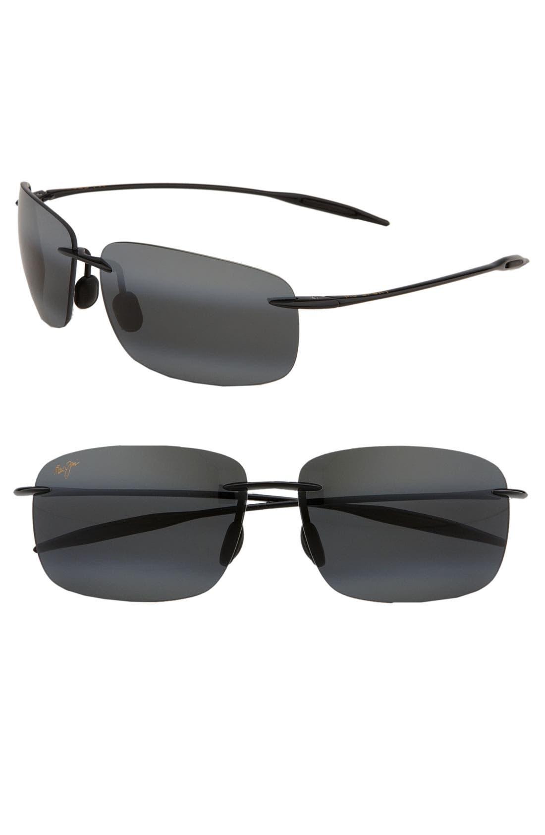 'Breakwall - PolarizedPlus<sup>®</sup>2' 63mm Sunglasses,                             Main thumbnail 1, color,                             BLACK GLOSS