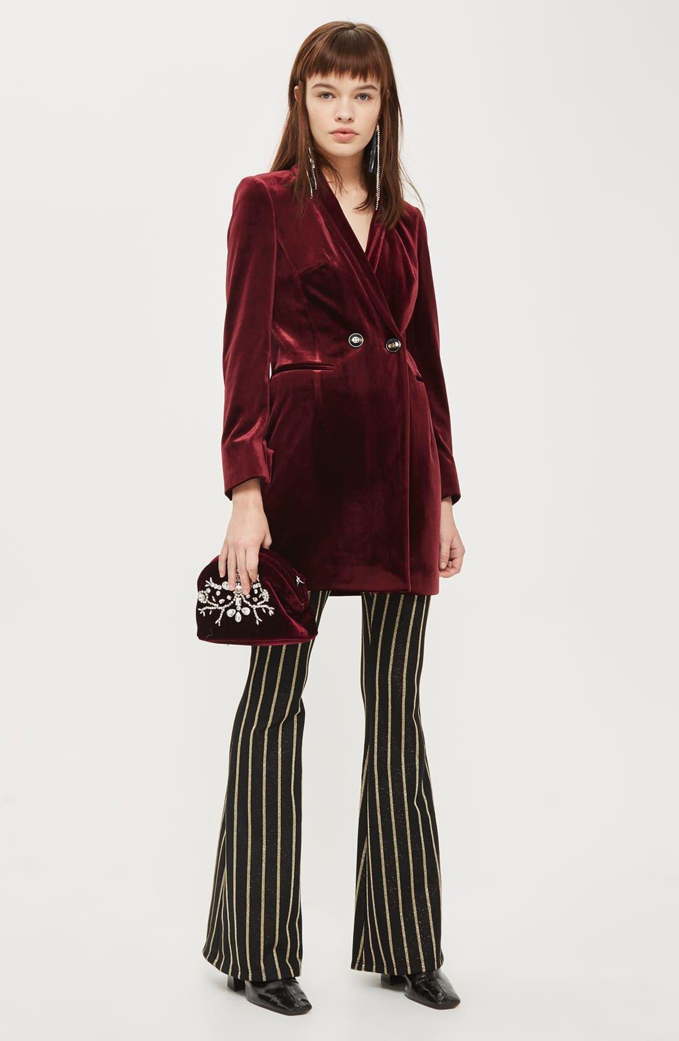 Double Breasted Velvet Blazer Dress,                             Alternate thumbnail 5, color,                             930