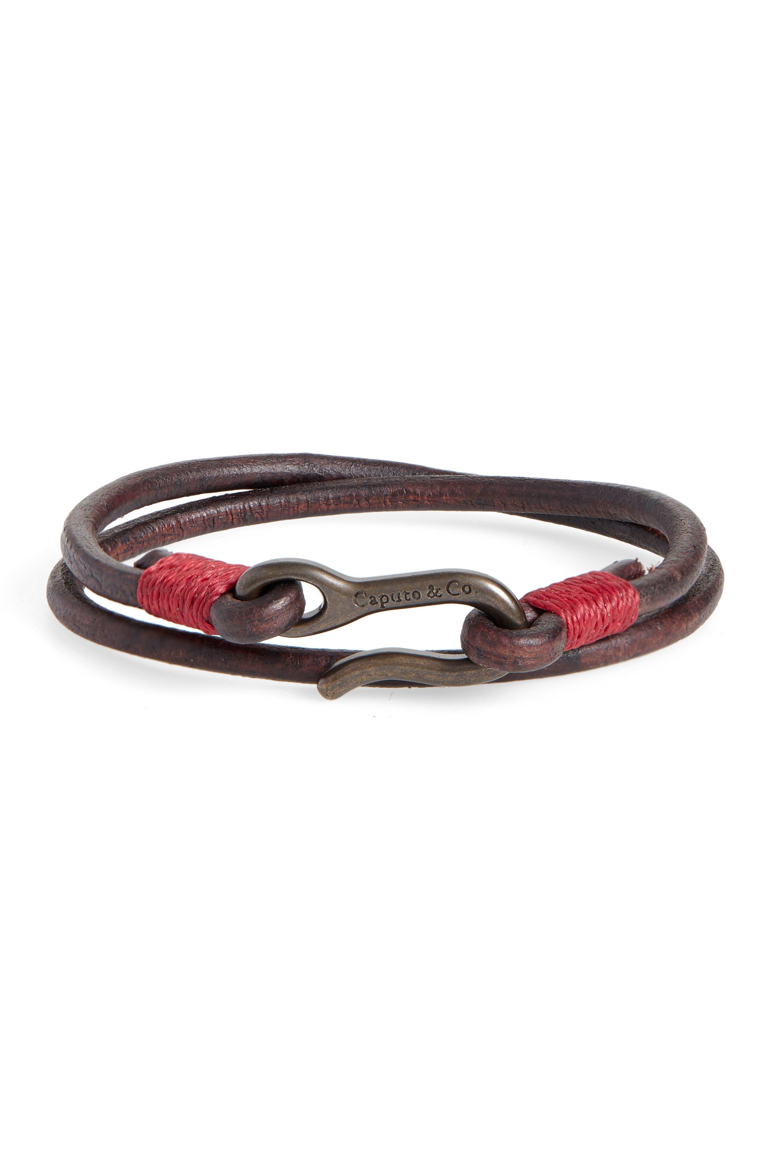 CAPUTO & CO. Leather Wrap Bracelet in Dark Brown