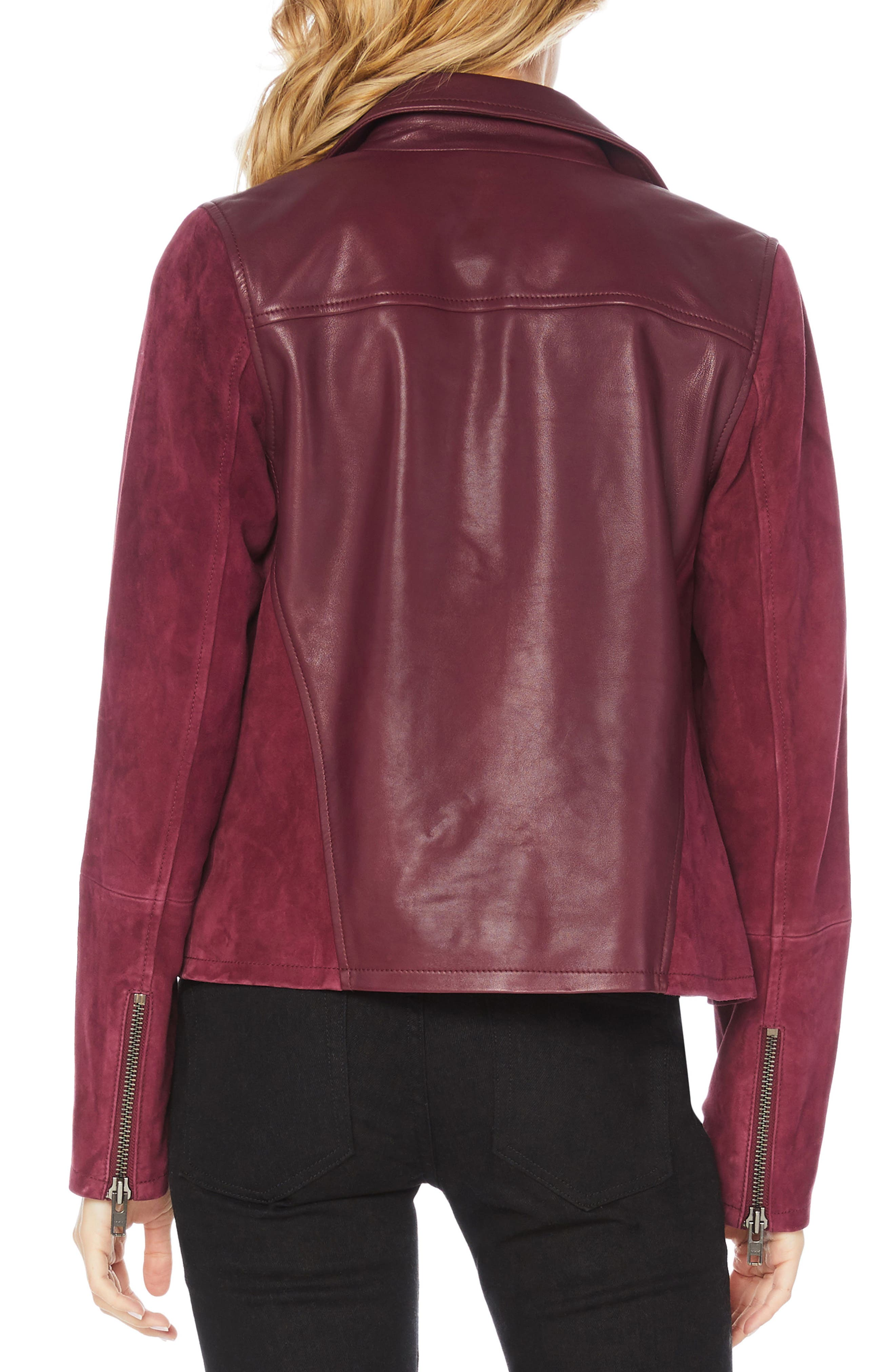 Leather & Suede Moto Jacket,                             Alternate thumbnail 2, color,                             PINOT