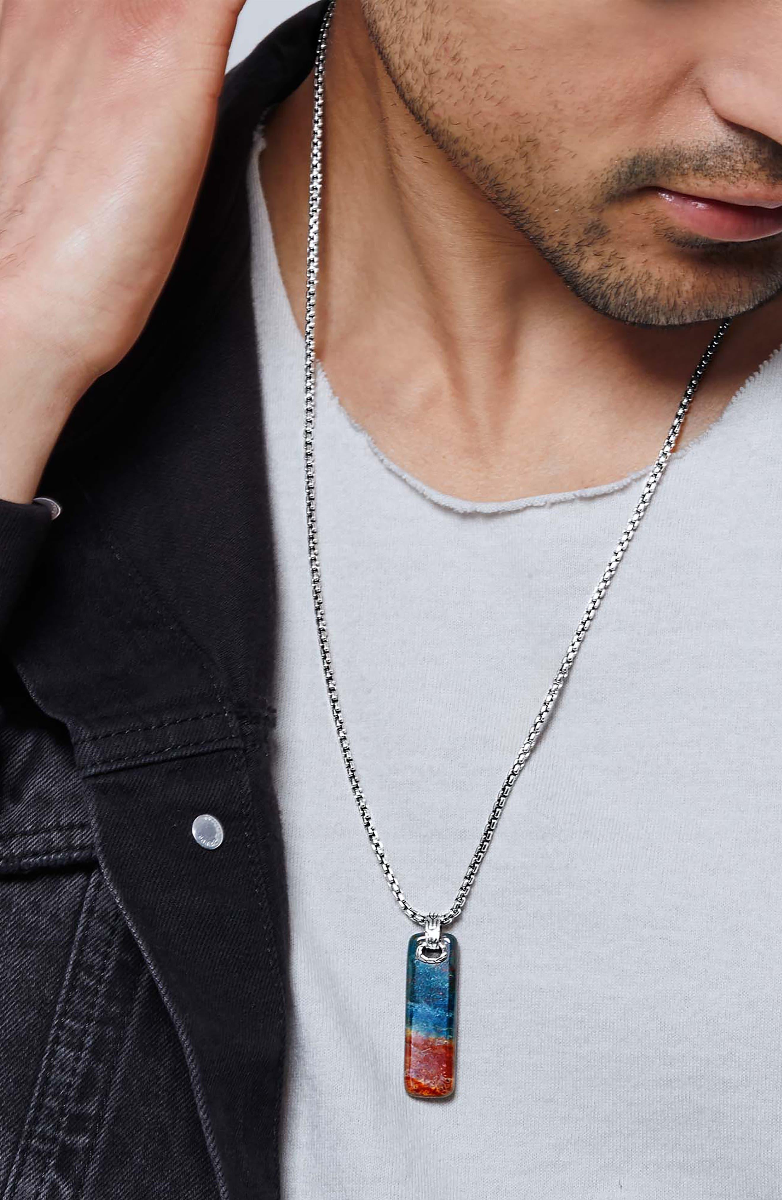 Men's Classic Chain Pendant Necklace,                             Alternate thumbnail 2, color,                             SILVER/ DRAGON BLOOD JASPER