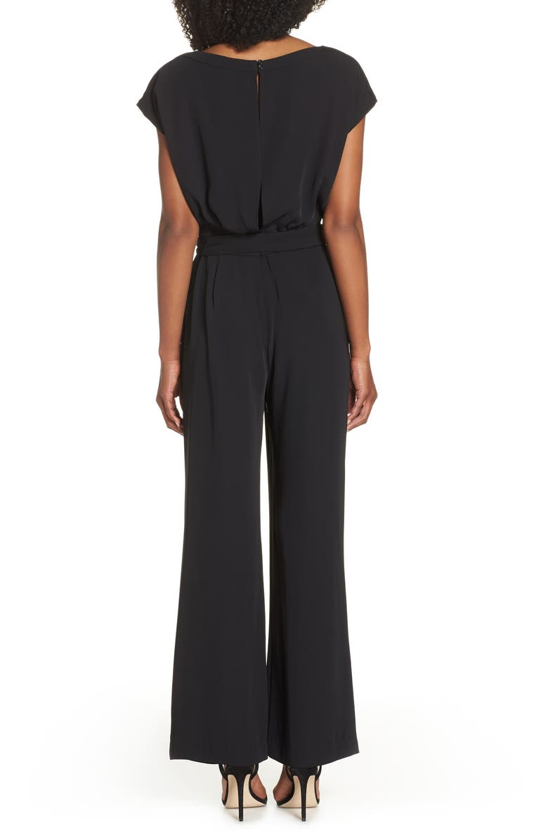 6582d16674c0 Eliza J Cap Sleeve Wide Leg Jumpsuit In Black