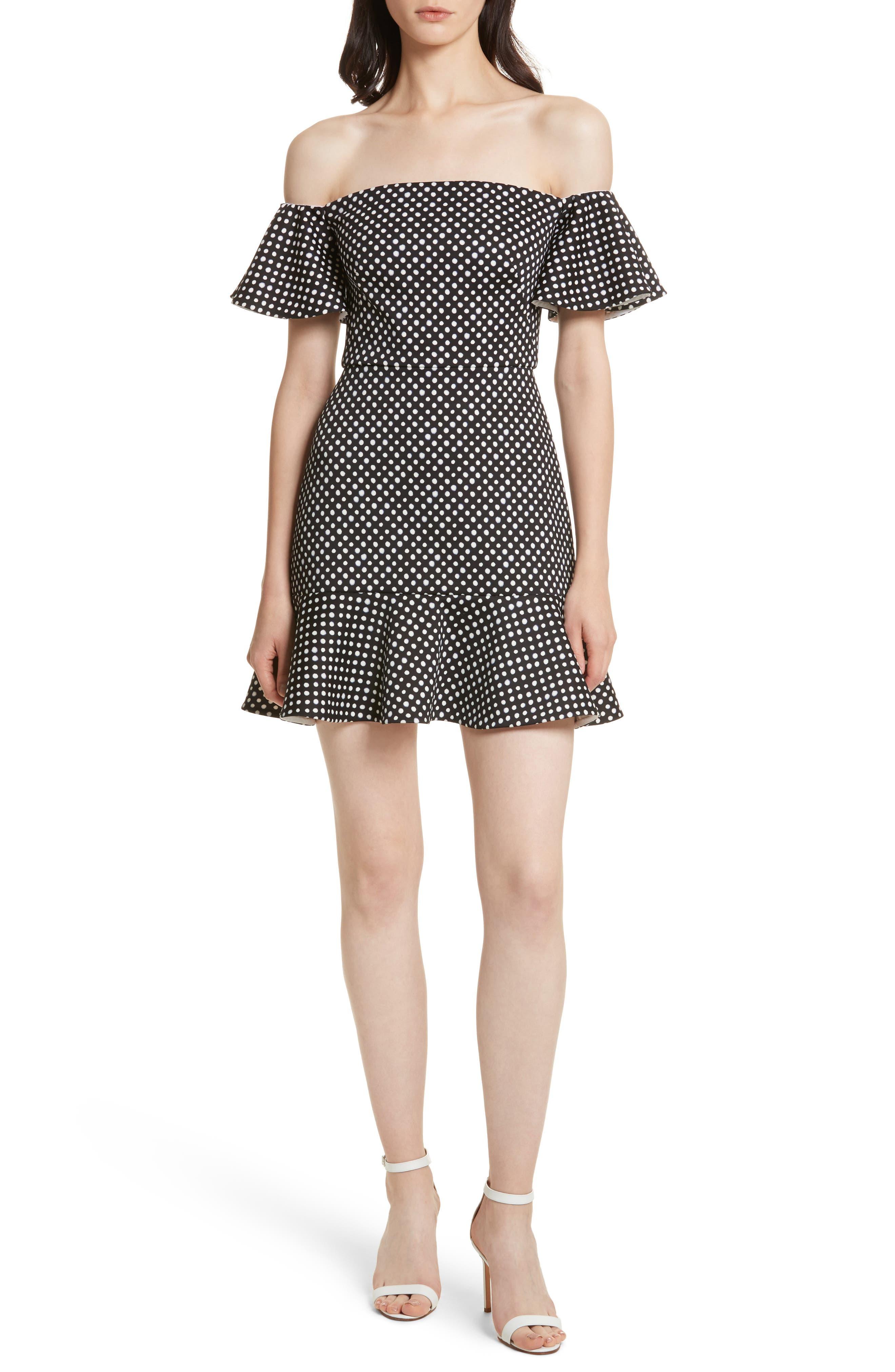 Amelia Polka Dot Print Off the Shoulder Dress,                         Main,                         color,