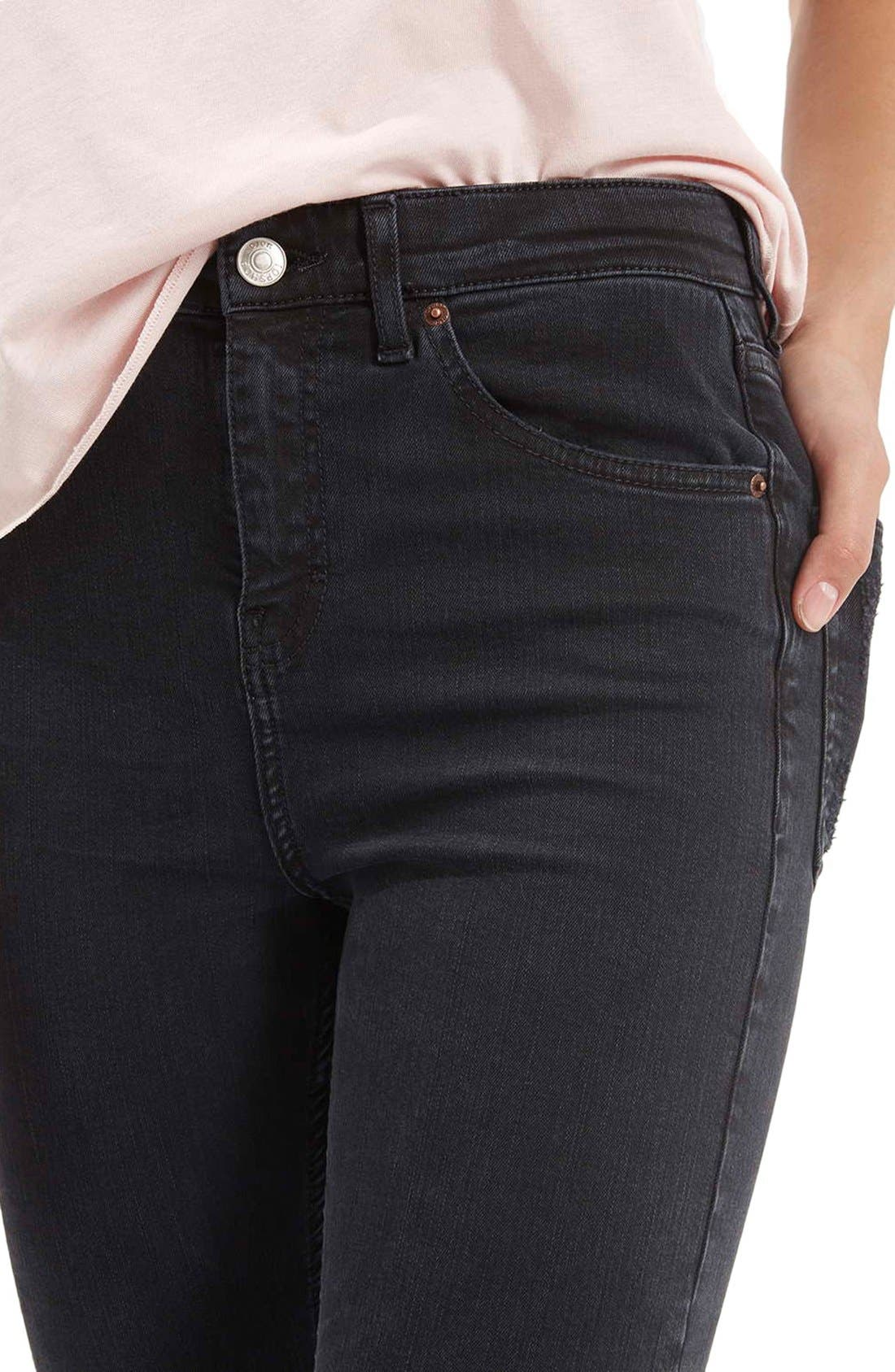 TOPSHOP,                             Moto 'Jamie' Ripped Skinny Jeans,                             Alternate thumbnail 4, color,                             001