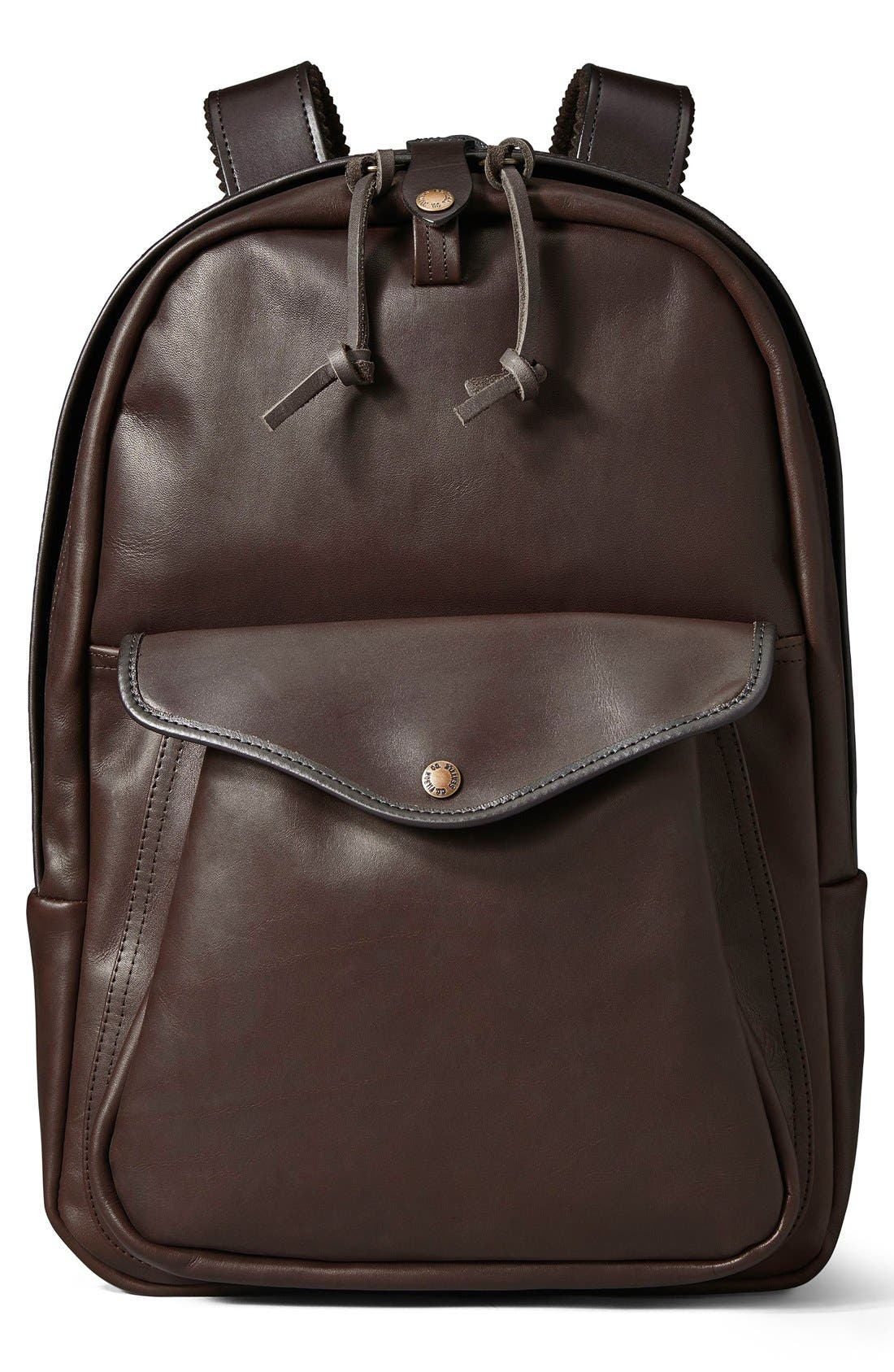 FILSON,                             Weatherproof Leather Backpack,                             Main thumbnail 1, color,                             206