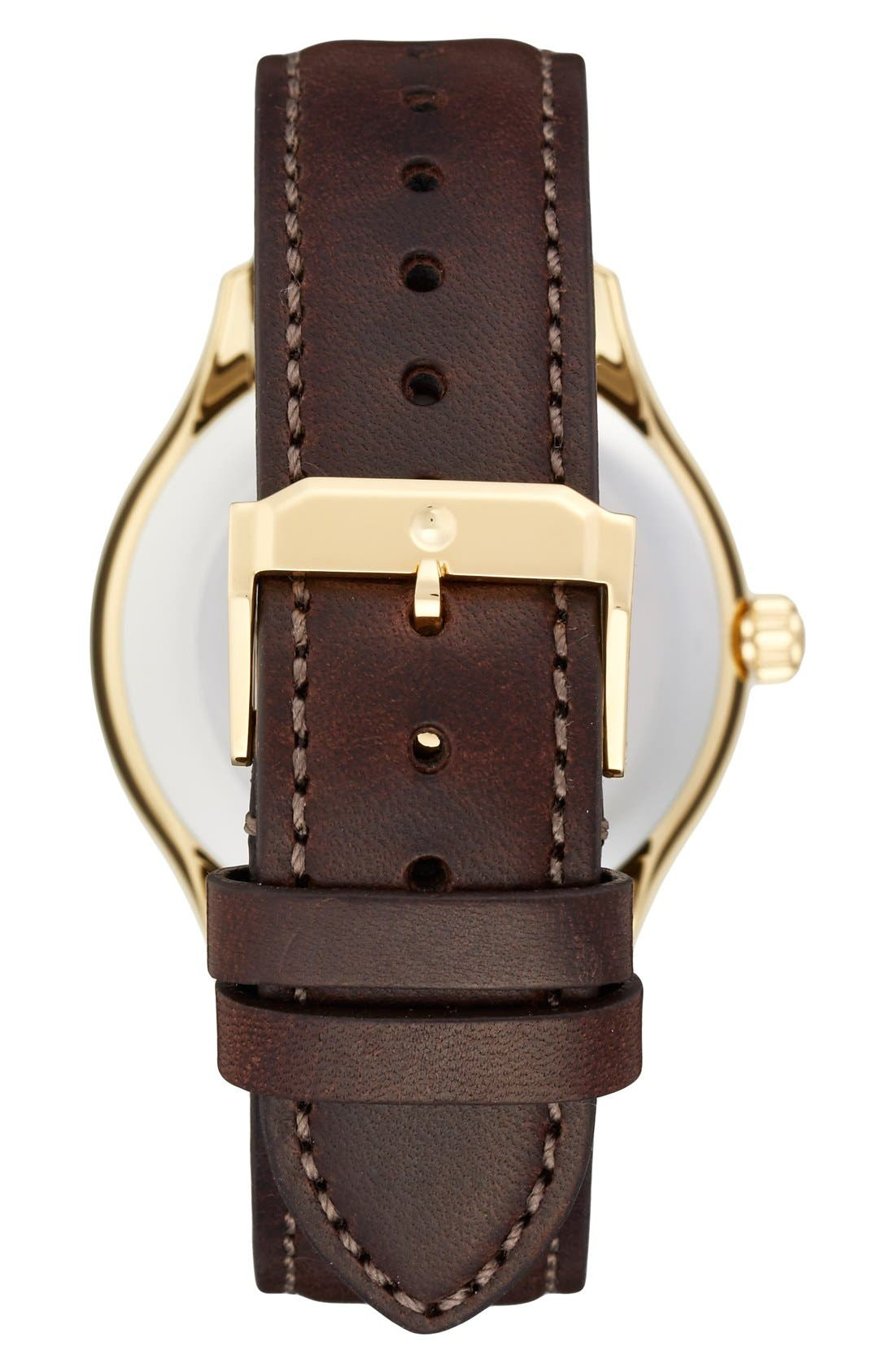 'Heritage' Leather Strap Watch, 40mm,                             Alternate thumbnail 3, color,                             BROWN/ BEIGE