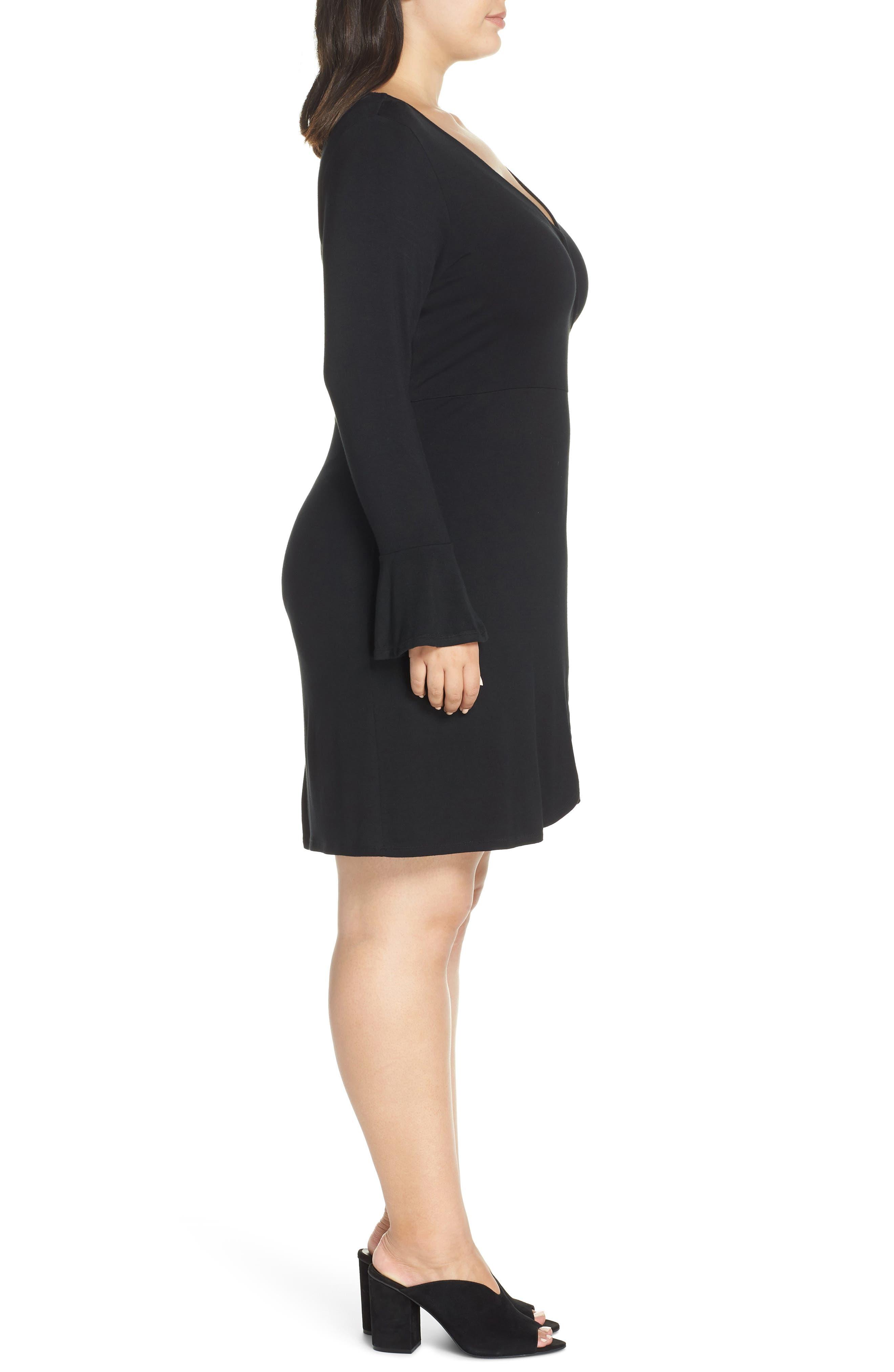 Casey Faux Wrap Dress,                             Alternate thumbnail 3, color,                             BLACK