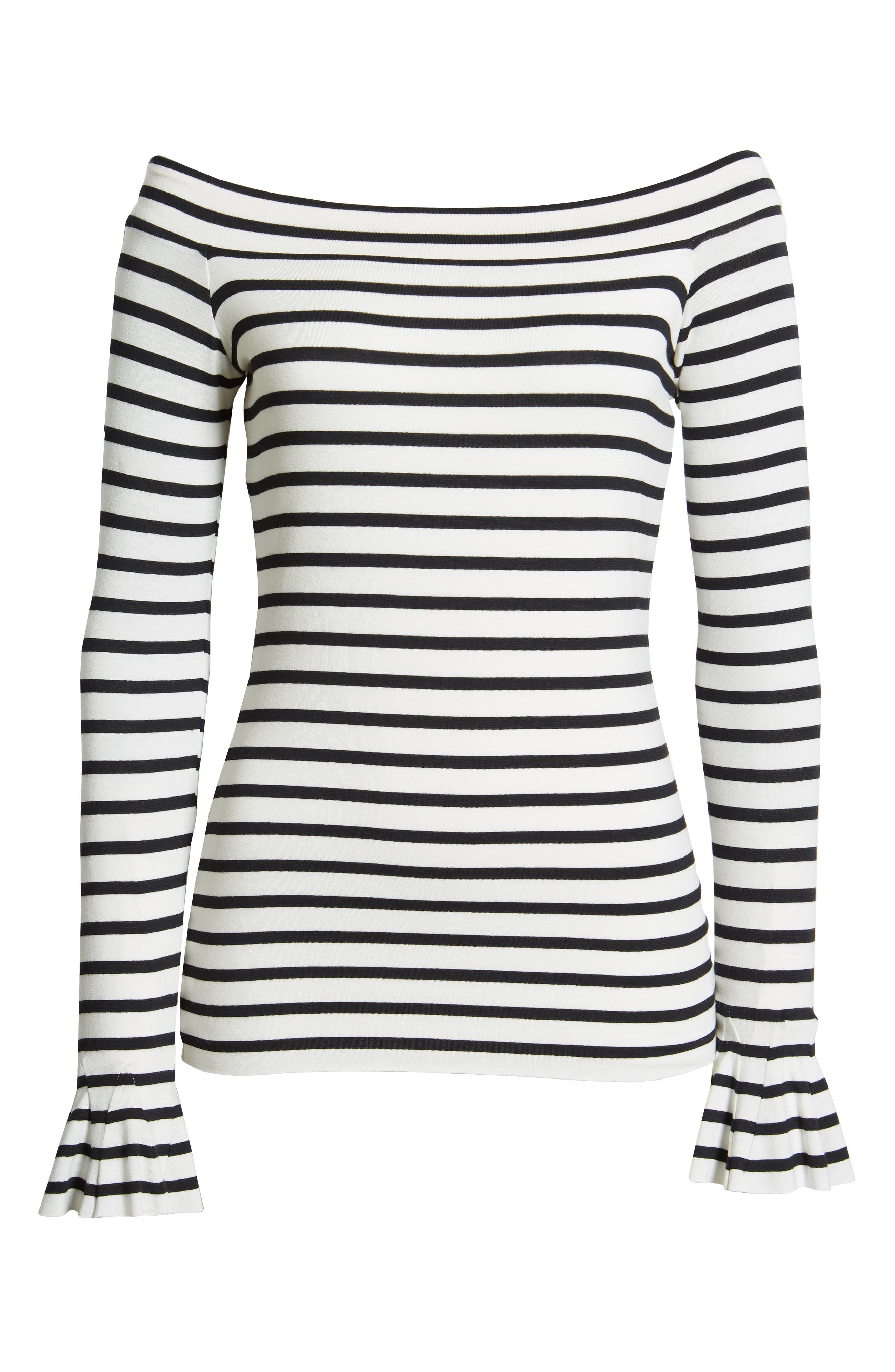 Bateau Venice Off-the-Shoulder Tee,                             Alternate thumbnail 6, color,                             CHALK/ MIDNIGHT