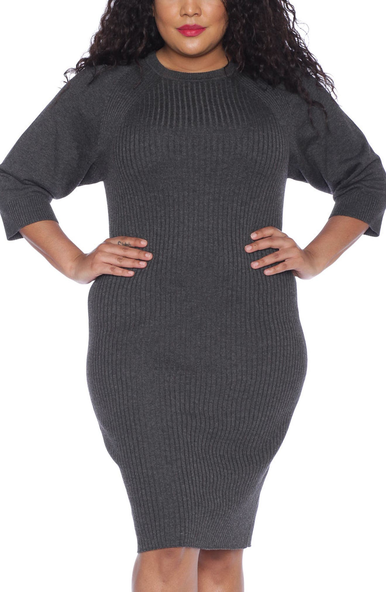 Ribbed Sweater Dress,                         Main,                         color, DARK STONE
