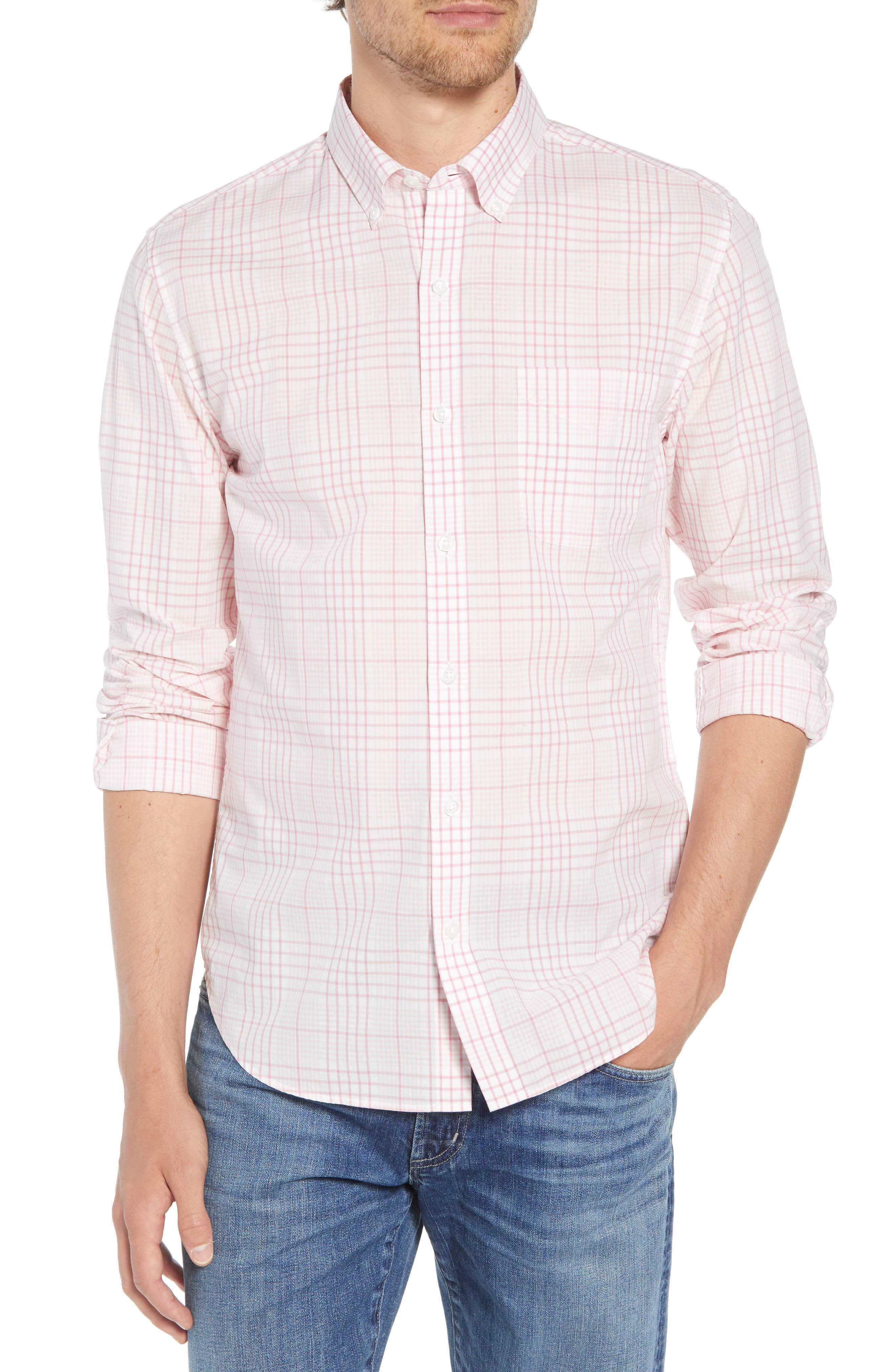 Summerweight Slim Fit Check Sport Shirt,                         Main,                         color, 650