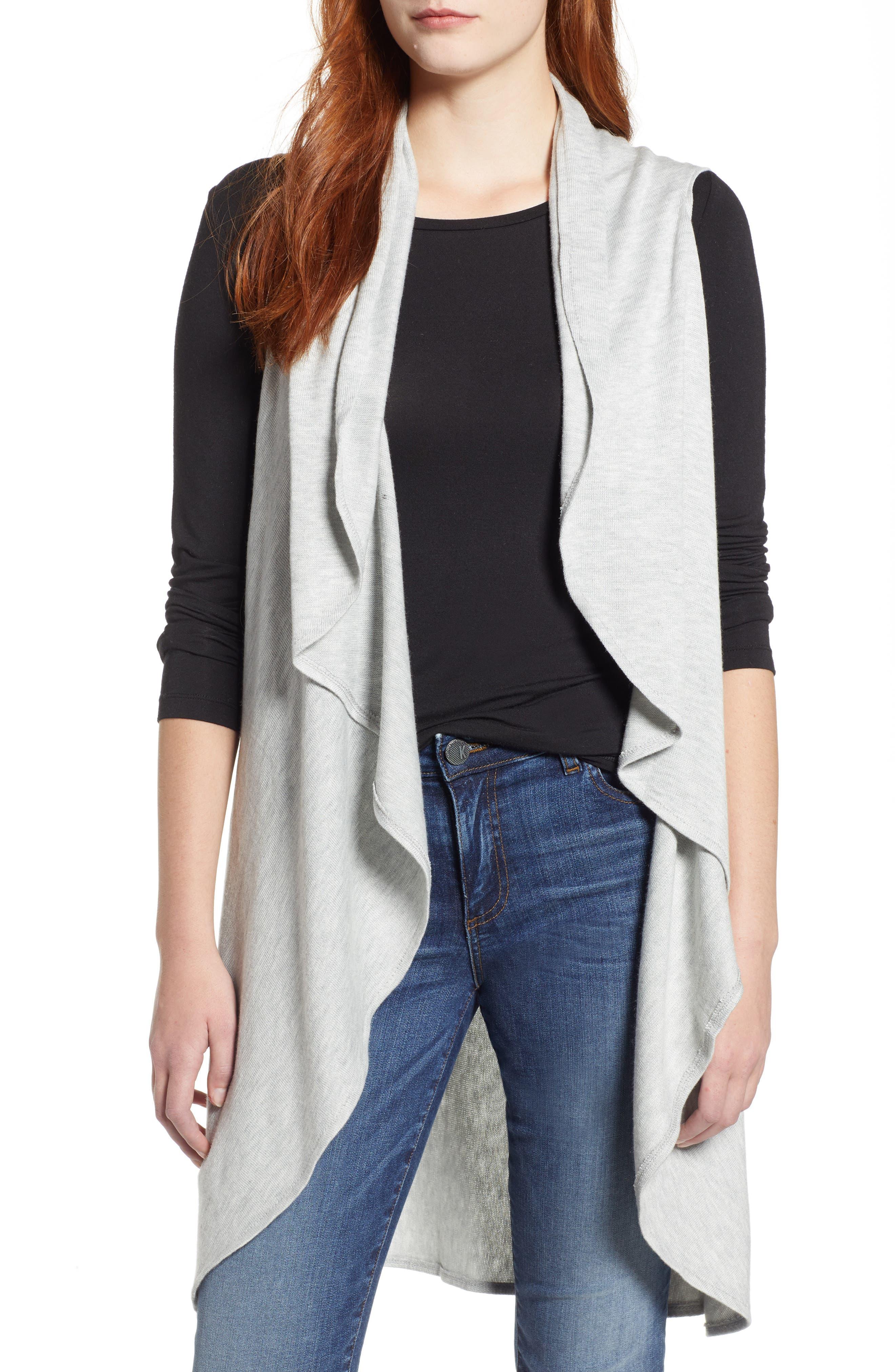 Essential Knit Vest,                         Main,                         color, GREY SOFT HEATHER