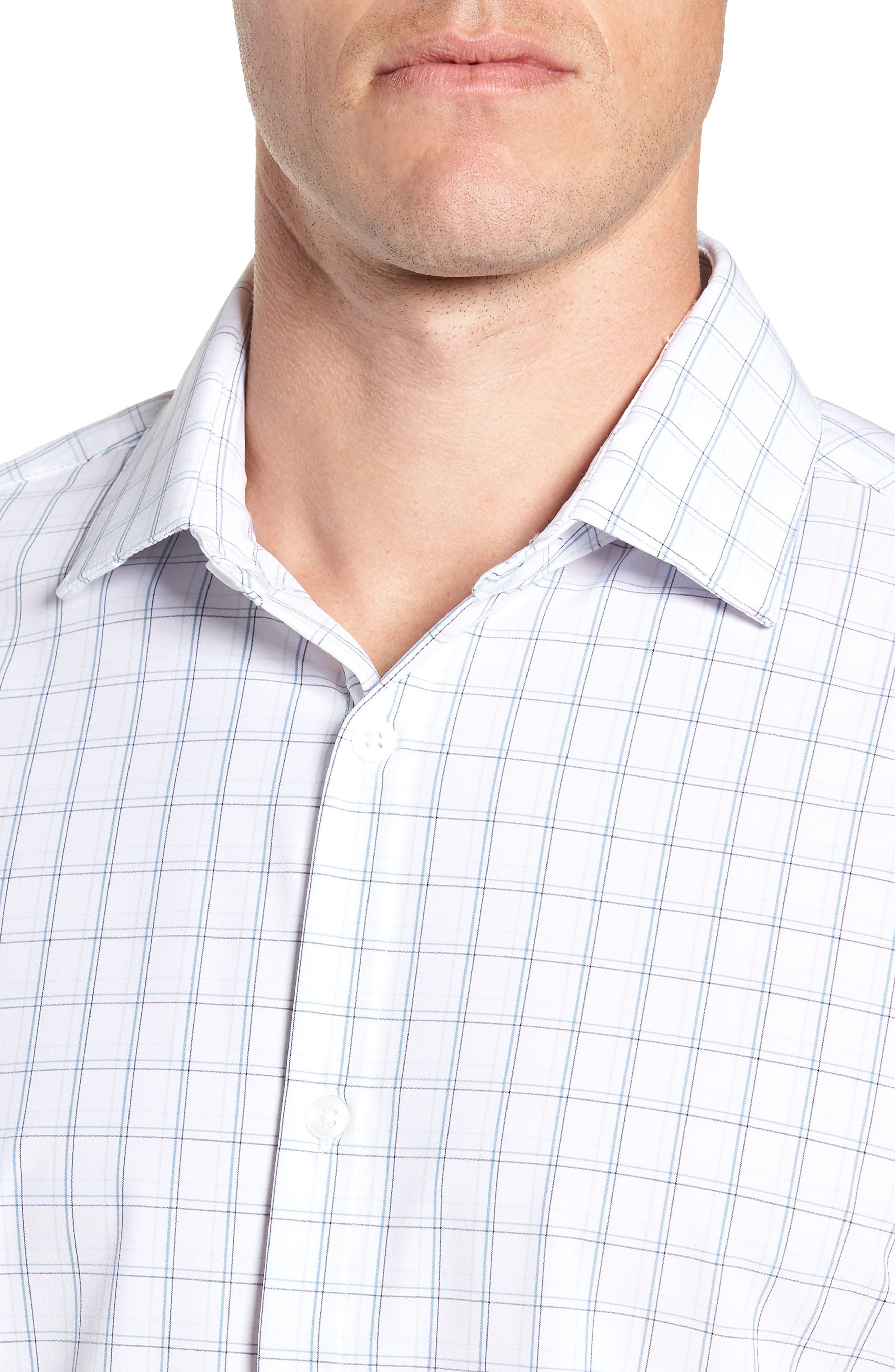 Sanders Slim Fit Check Performance Sport Shirt,                             Alternate thumbnail 2, color,                             WHITE