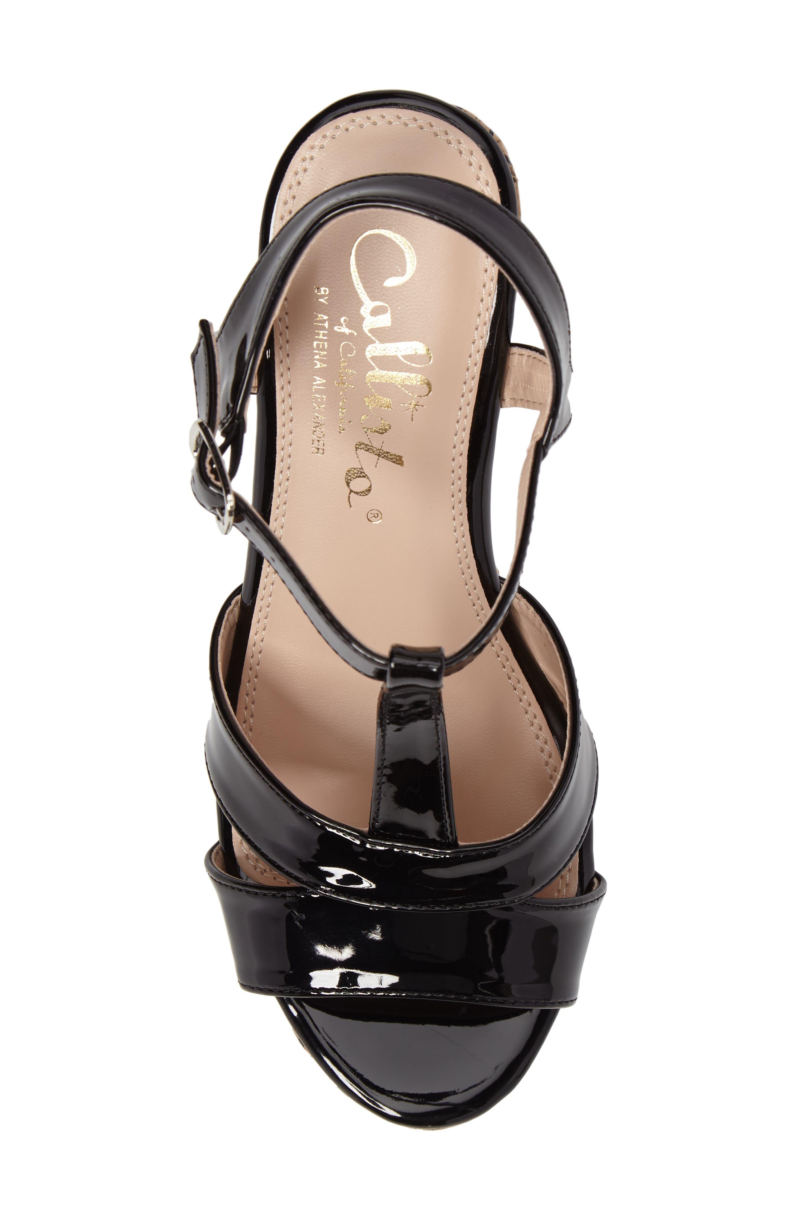 Teluride Platform Wedge Sandal,                             Alternate thumbnail 5, color,                             BLACK SYNTHETIC PATENT