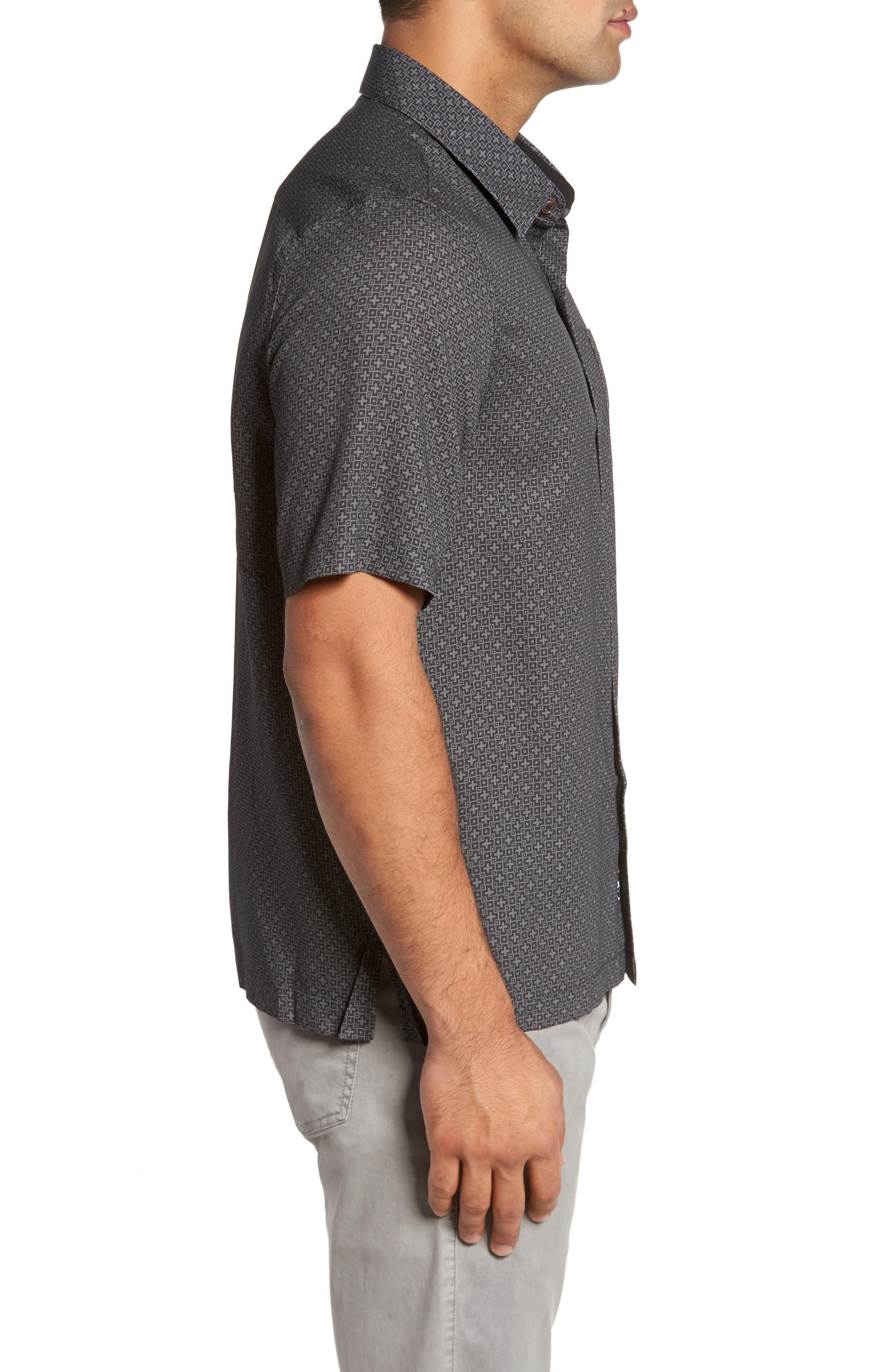Everest Print Silk Blend Sport Shirt,                             Alternate thumbnail 7, color,