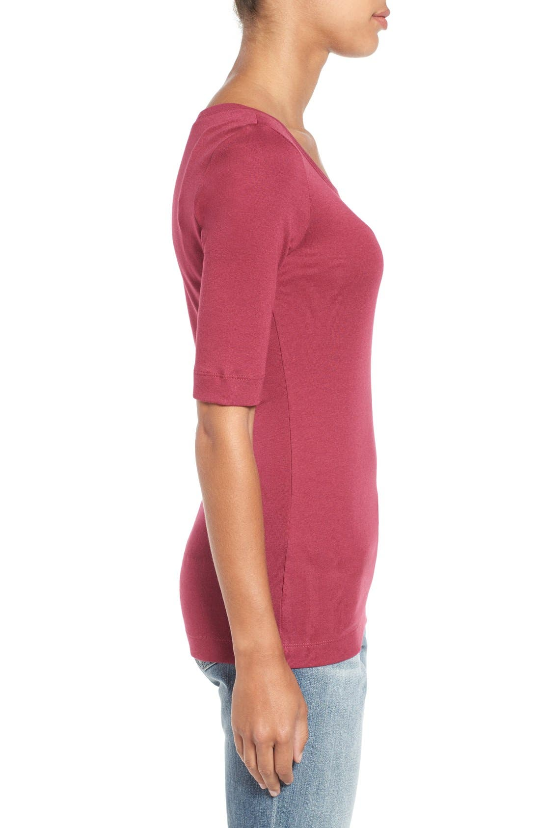 Ballet Neck Cotton & Modal Knit Elbow Sleeve Tee,                             Alternate thumbnail 162, color,
