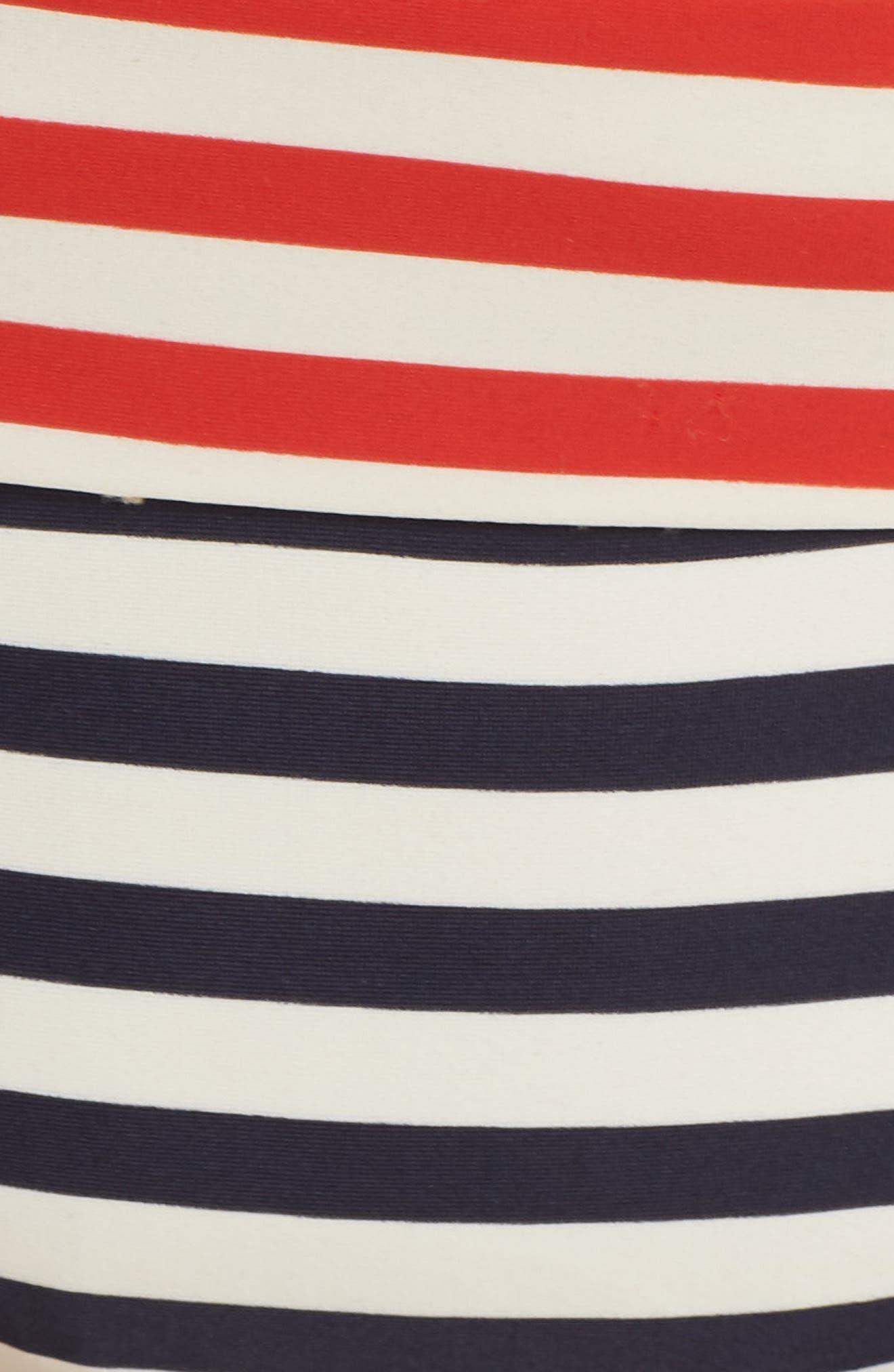 Stripe Banded Bikini Bottoms,                             Alternate thumbnail 5, color,                             NAVY VIVID FLAME