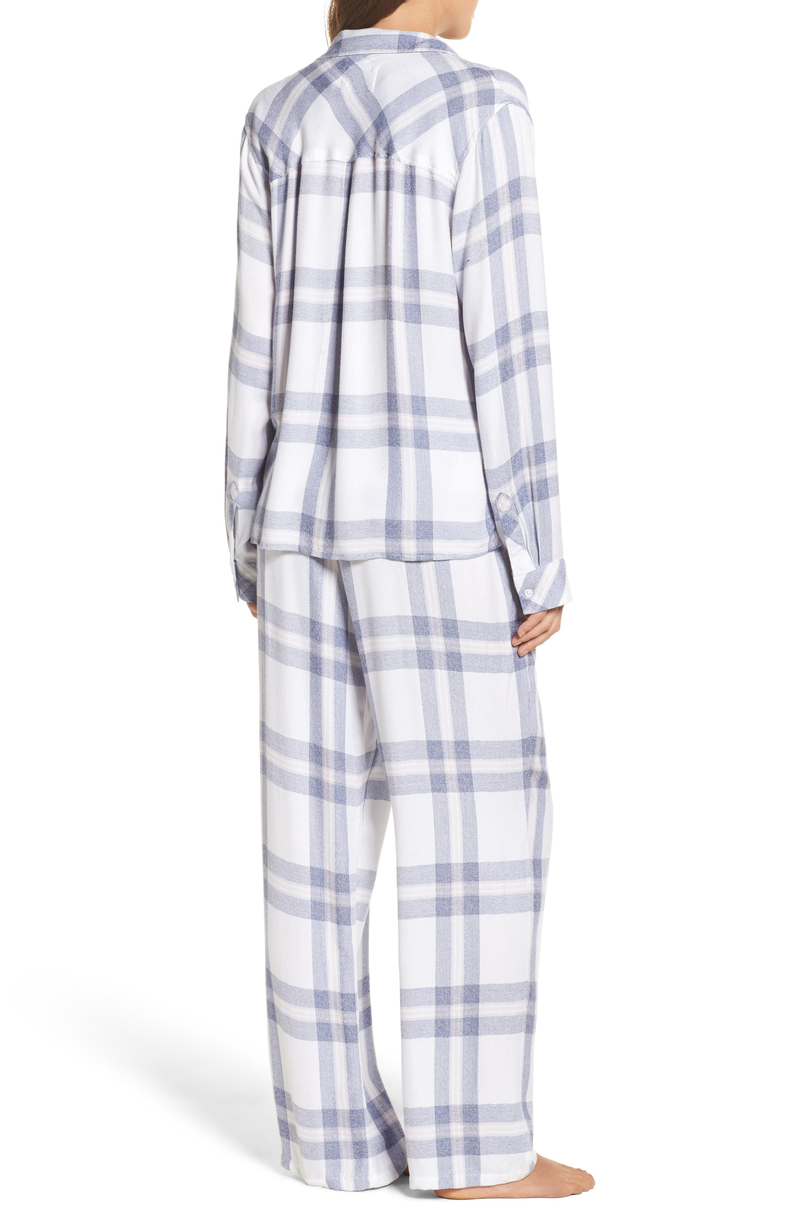 Plaid Pajamas,                             Alternate thumbnail 2, color,                             WHITE/ CHAMBRAY/ PETAL