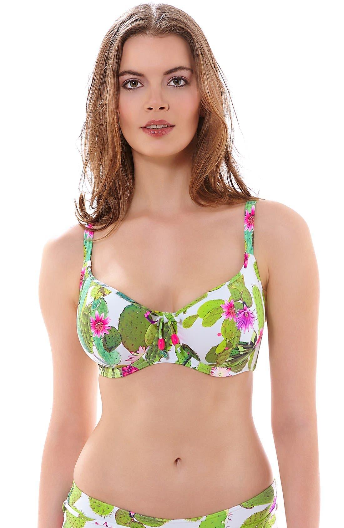 'Cactus' Underwire Bikini Top, Main, color, 348