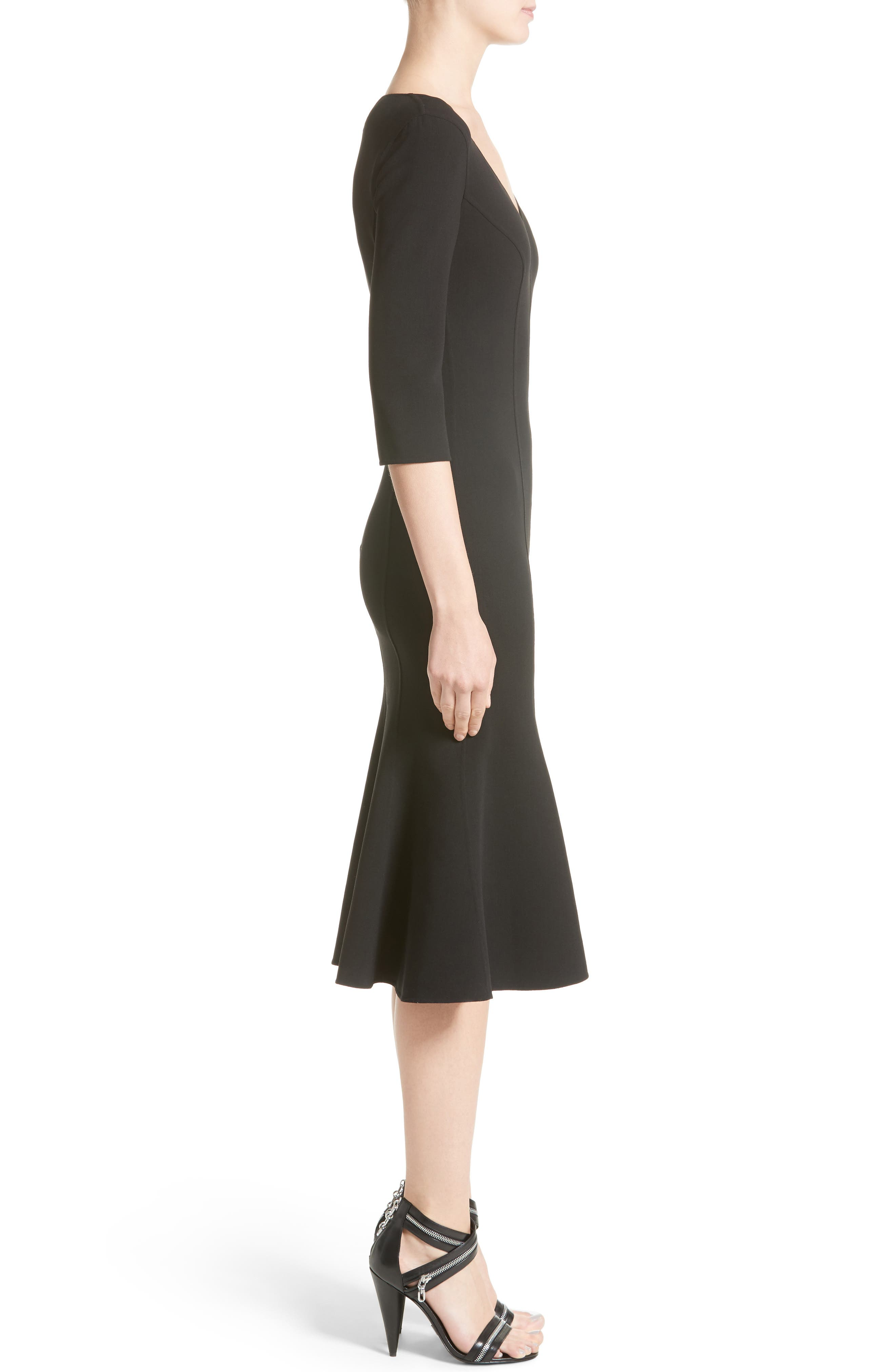 Stretch Wool Crepe Flounce Dress,                             Alternate thumbnail 3, color,