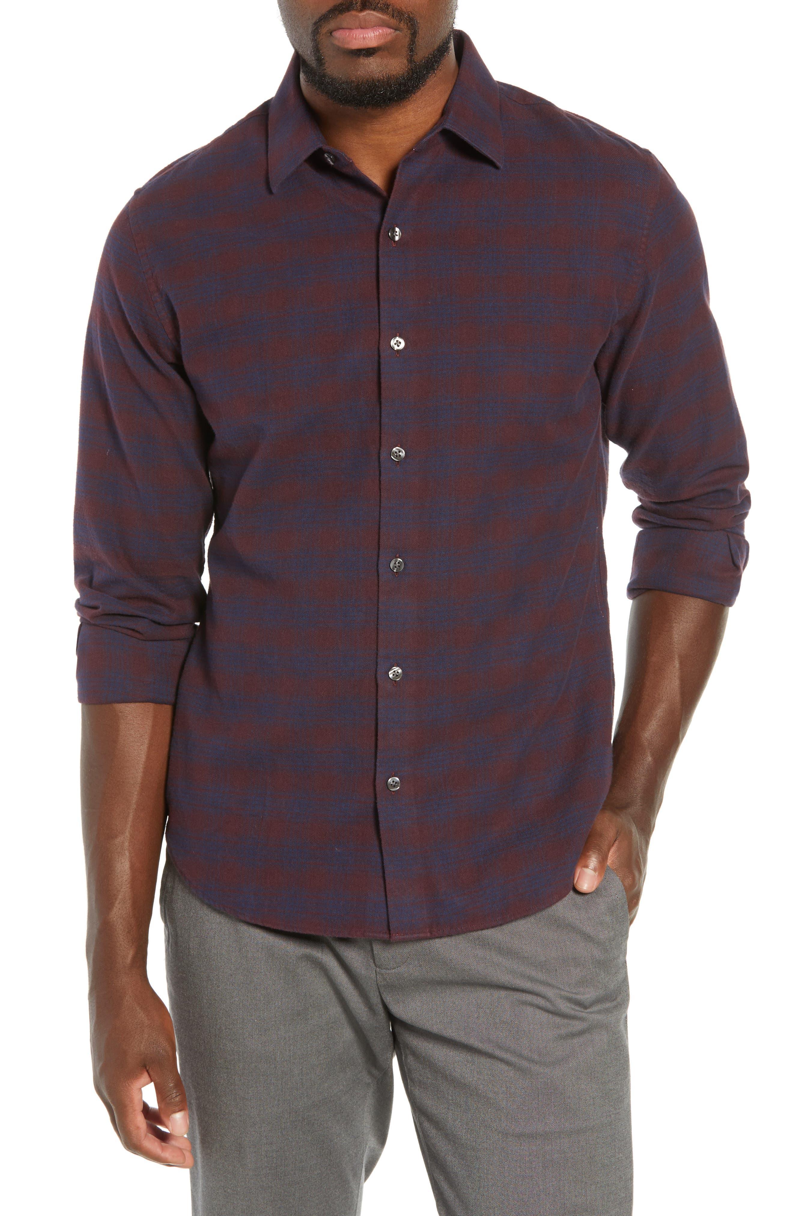 Unbutton Down Slim Fit Check Sport Shirt,                             Main thumbnail 1, color,                             ADCROFT CHECK - DAMSON PLUM