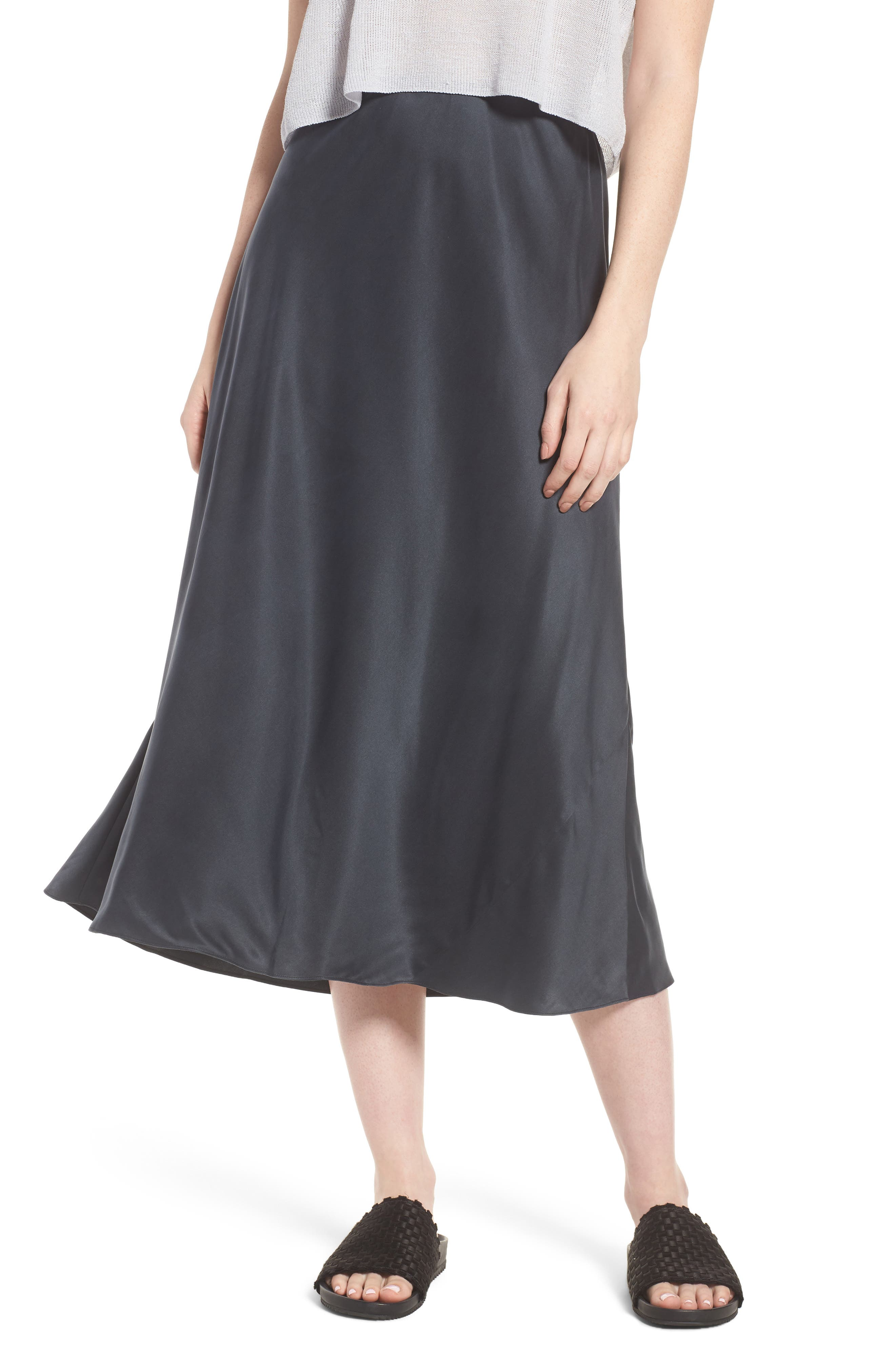 Bias Cut Silk Skirt,                             Main thumbnail 1, color,                             025