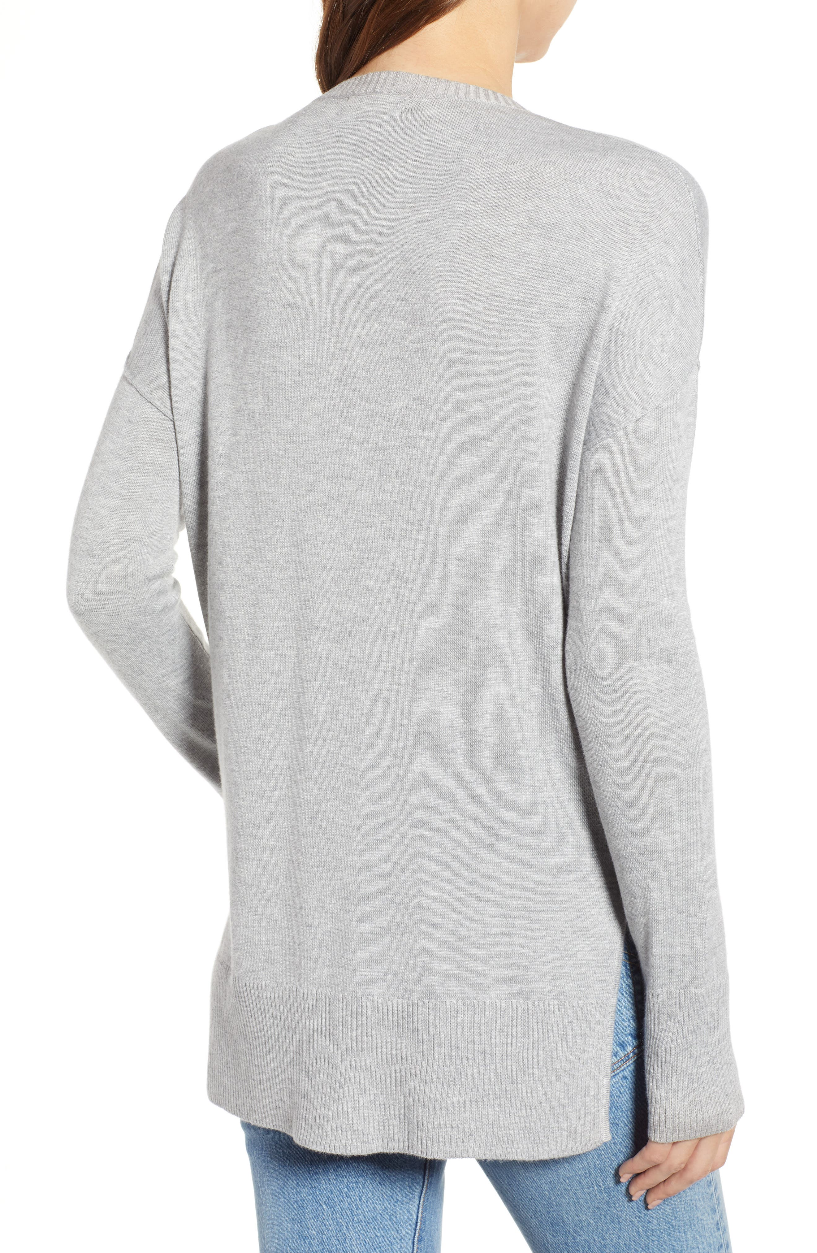Side Slit Sweater,                             Alternate thumbnail 2, color,                             GREY HEATHER